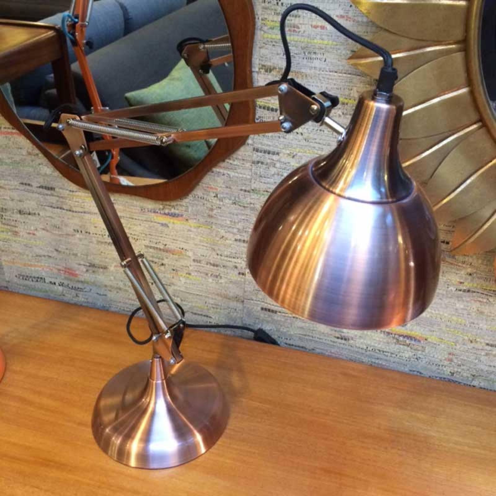 Vintage Style Copper Traditional Large Desk Lamp (Black Flex)