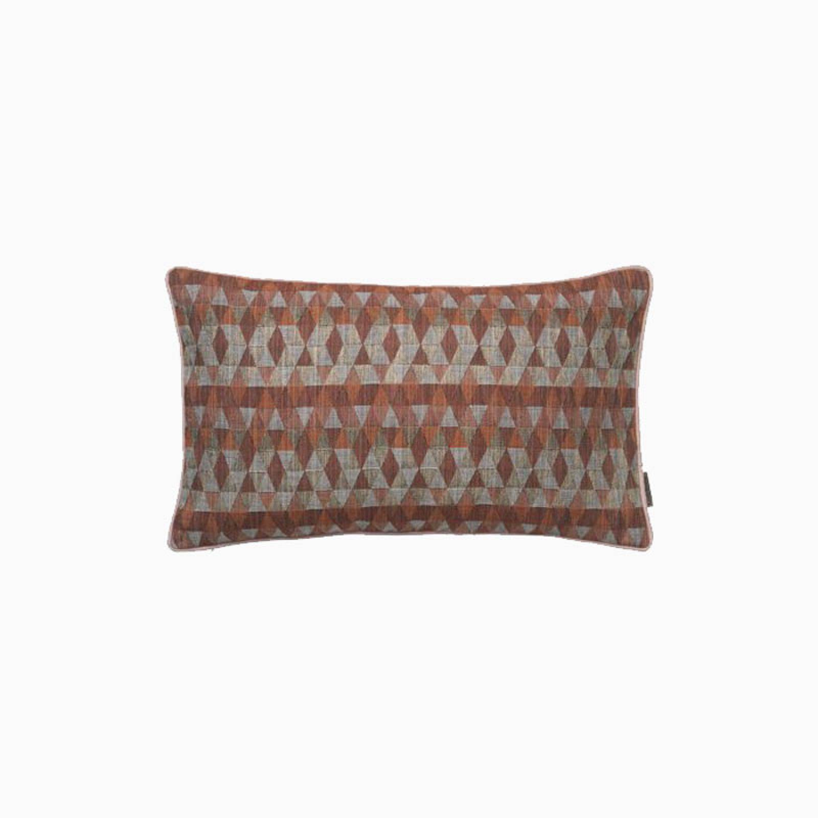 Rectangular Geometric Cushion In Coral