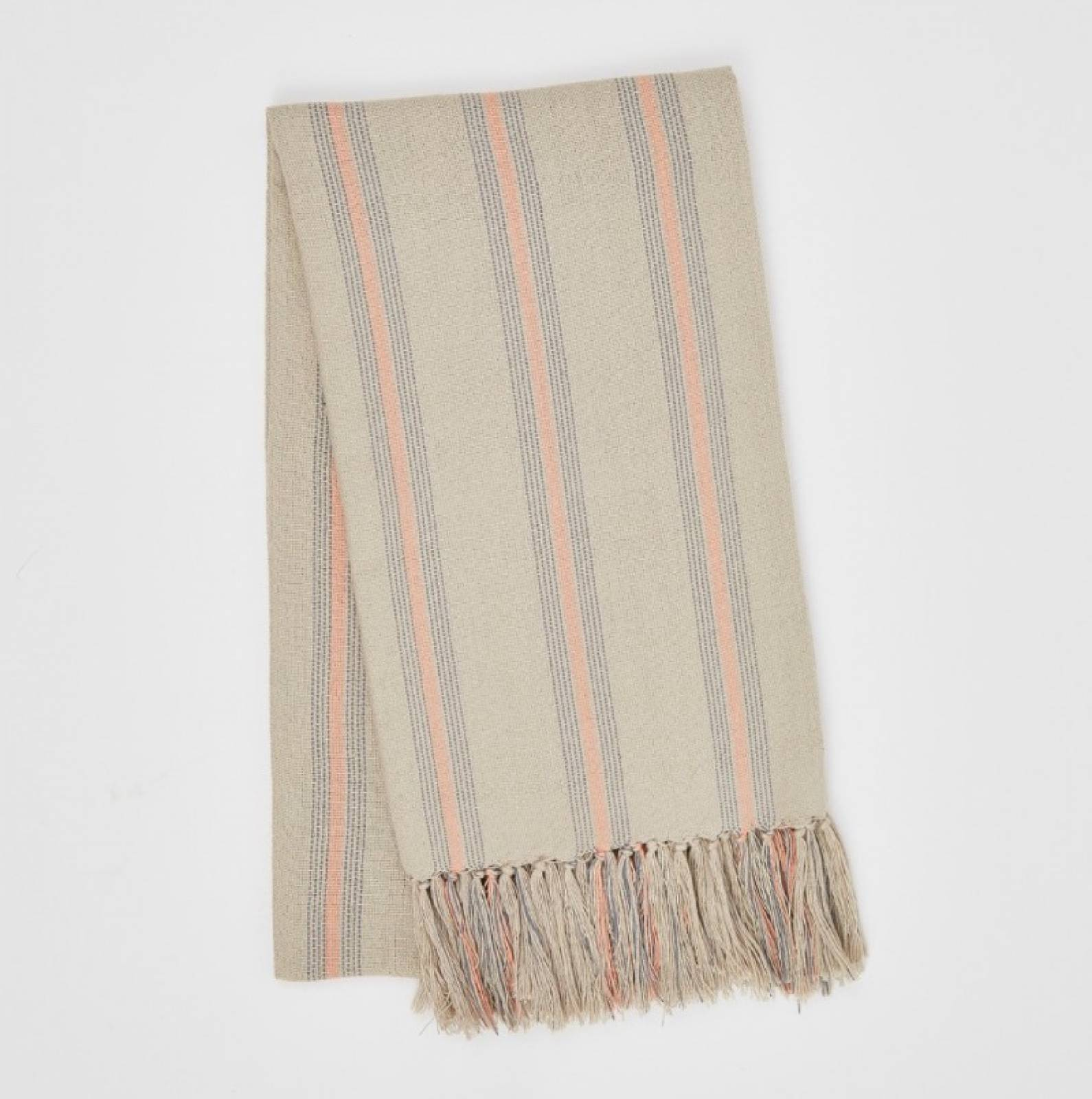 Cannes Coral & Grey Striped Throw Made From Plastic Bottles