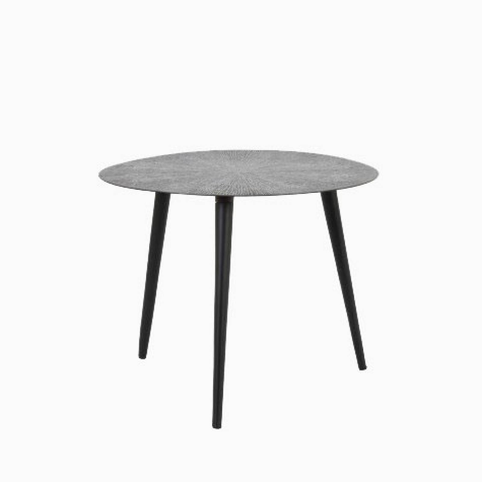 Large Ray Round Metal Side Table In Black Metal 50x39cm