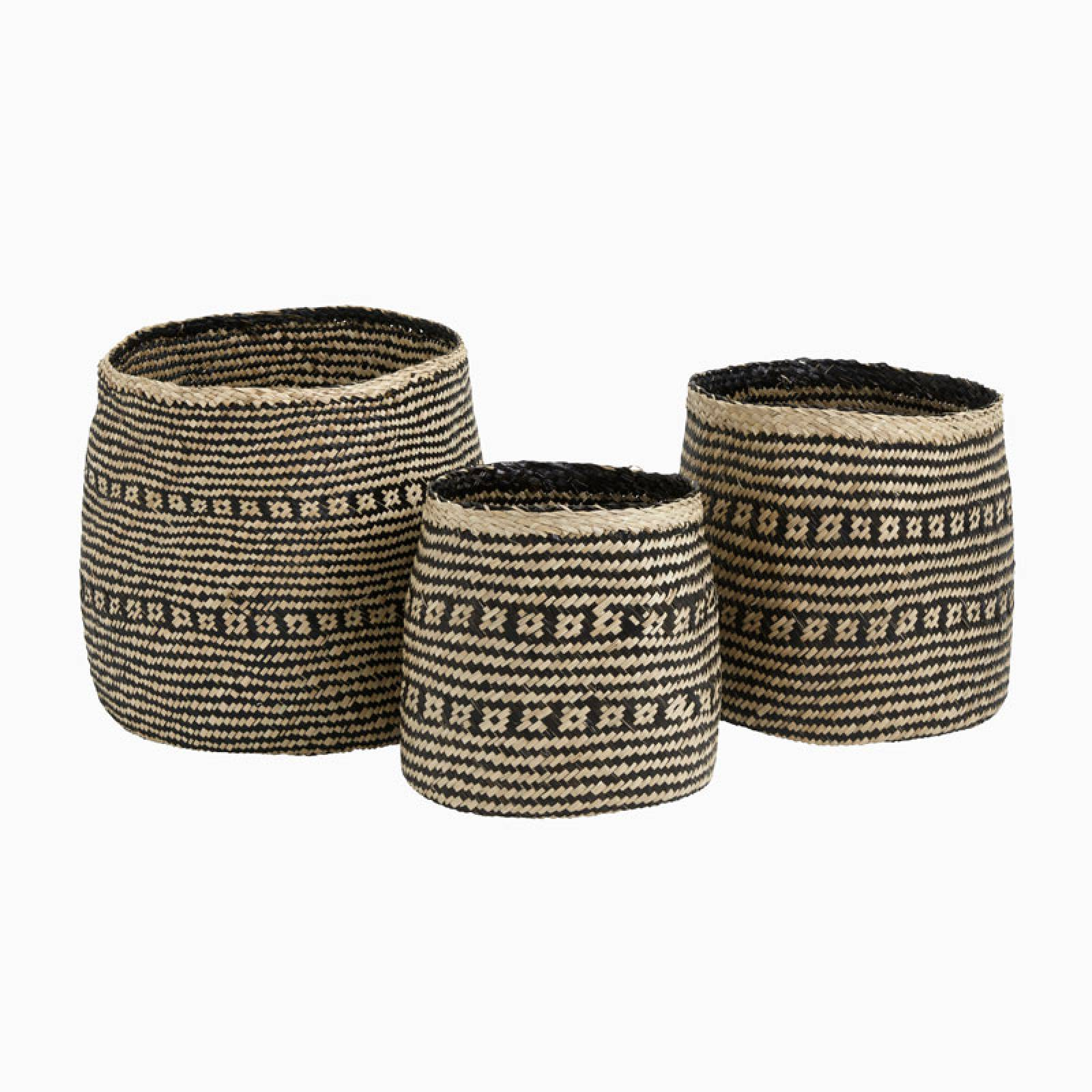 Cozy Natural And Black Seagrass Basket - Medium 35cm