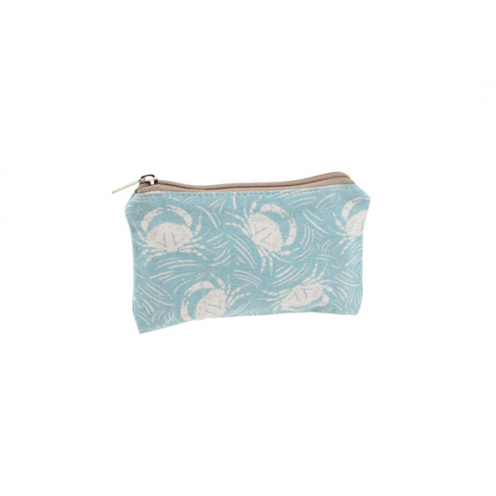 Blue And White Crab Fabric Purse