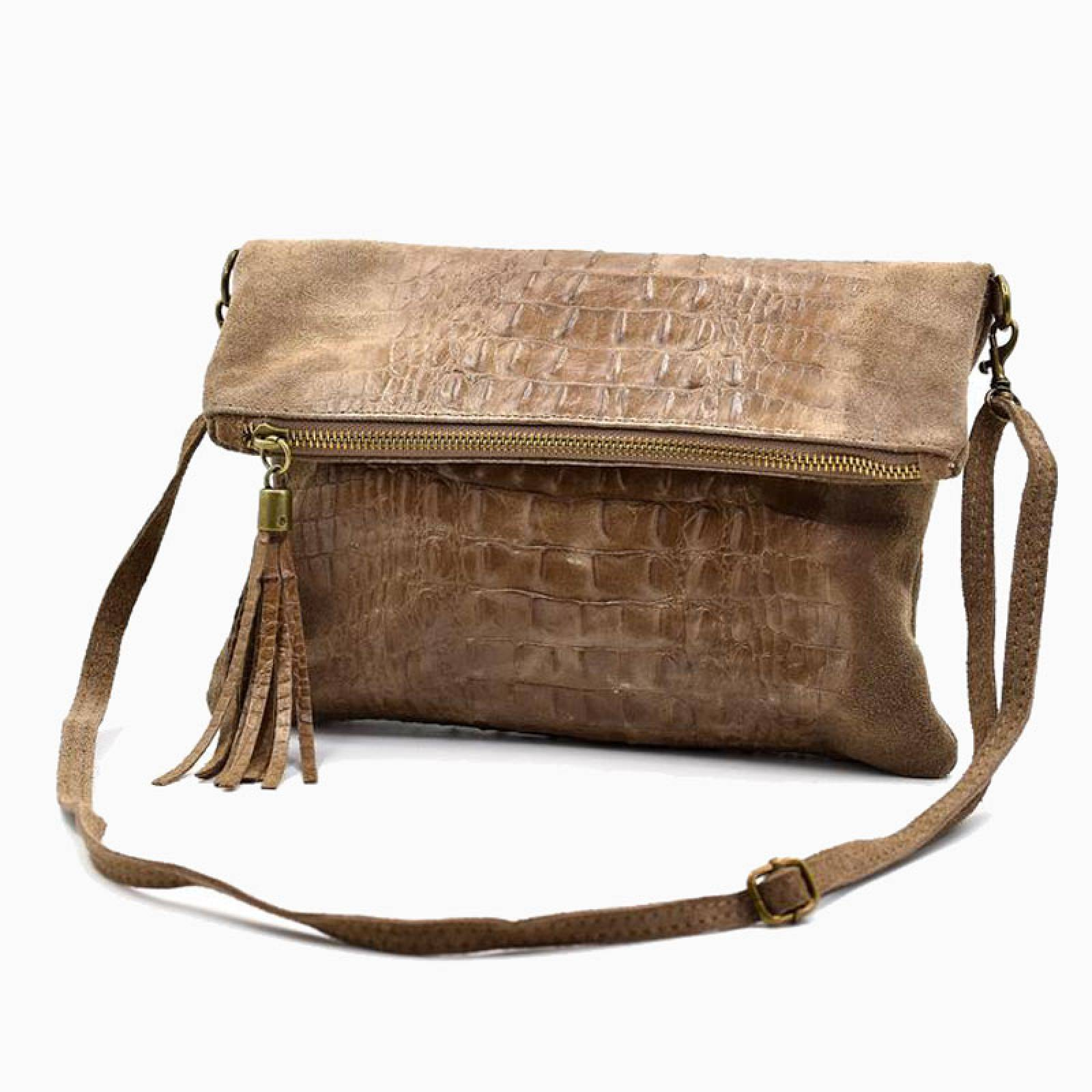Suede Clutch/ Crossbody Bag With Croc Detail - Taupe thumbnails