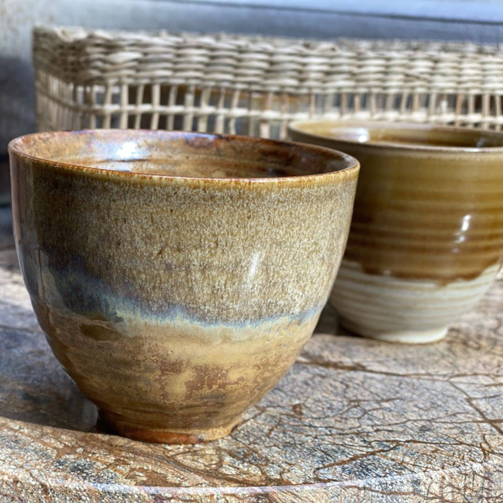 Large Brown Speckled Stoneware Cup With Iridescent Glaze thumbnails