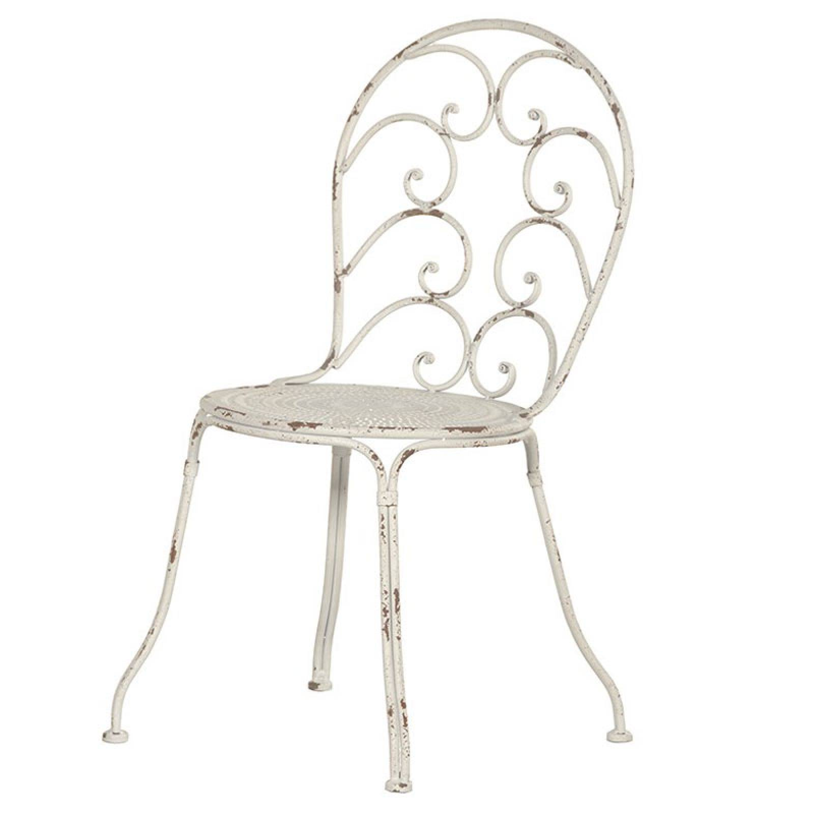 White Metal Garden Chair With Scroll Back