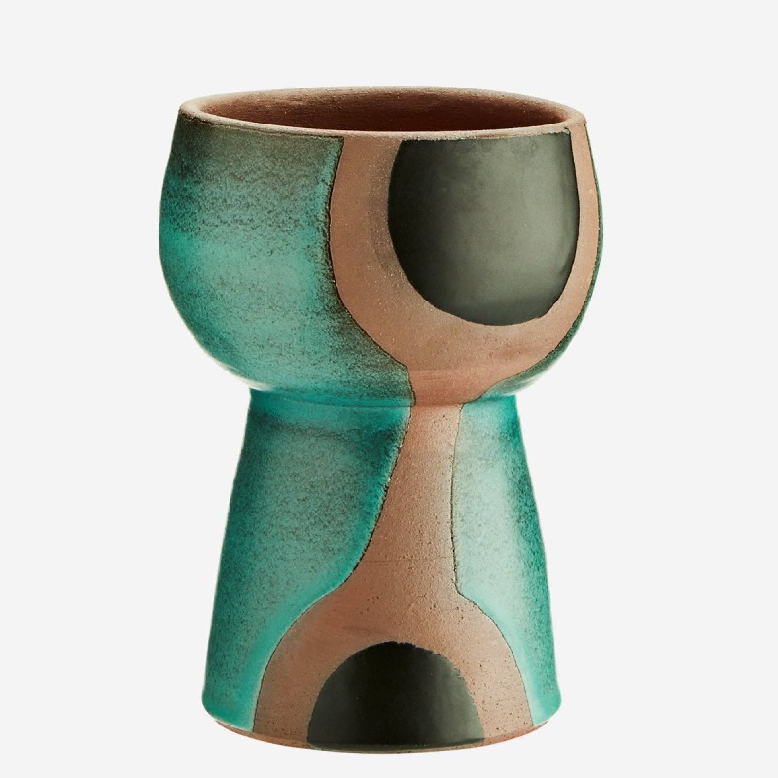 Curved Green Vase With Black Spots On Plinth