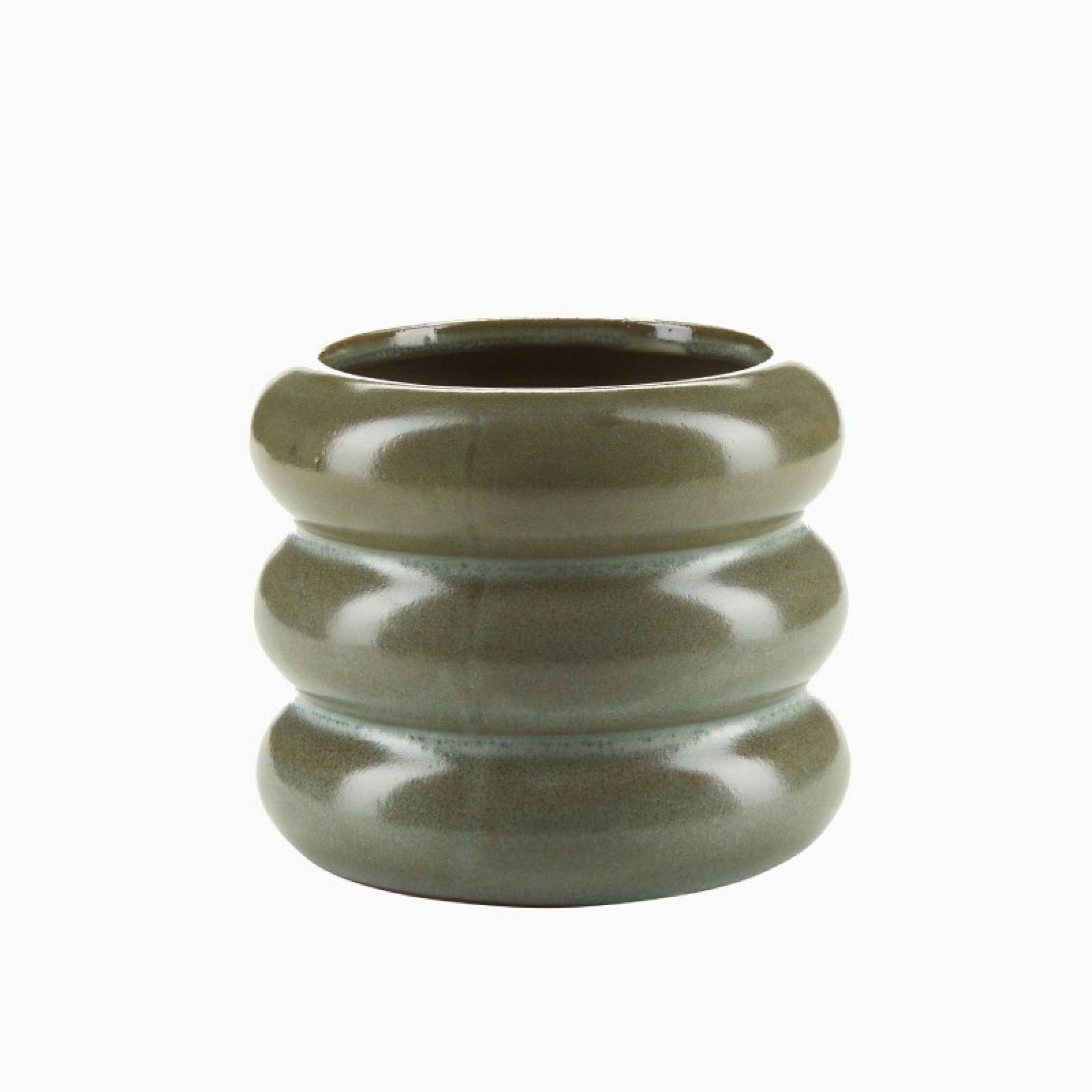 Curved Layered Flower Pot In Soft Green