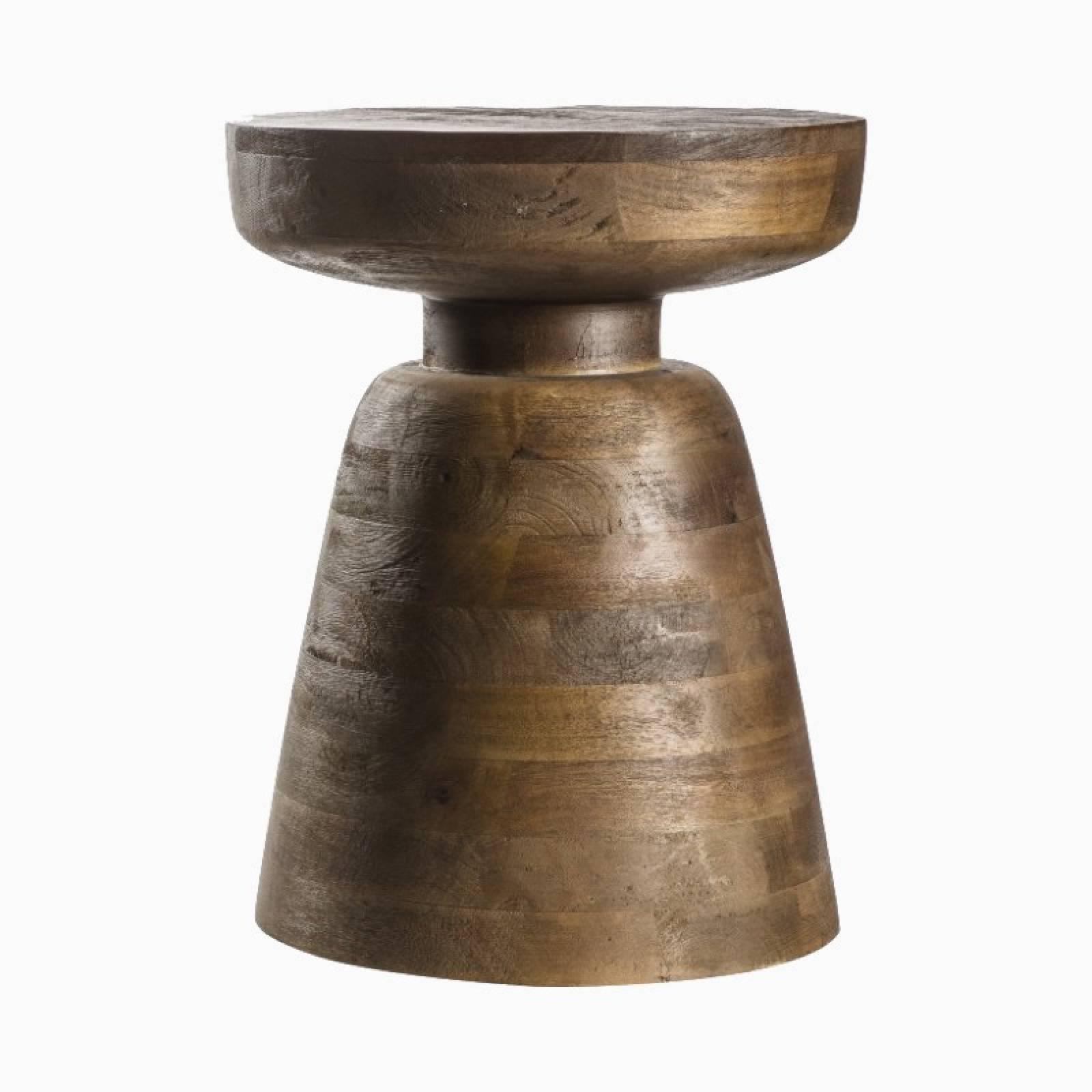 Curved Wooden Pedestal Side Table H:46cm