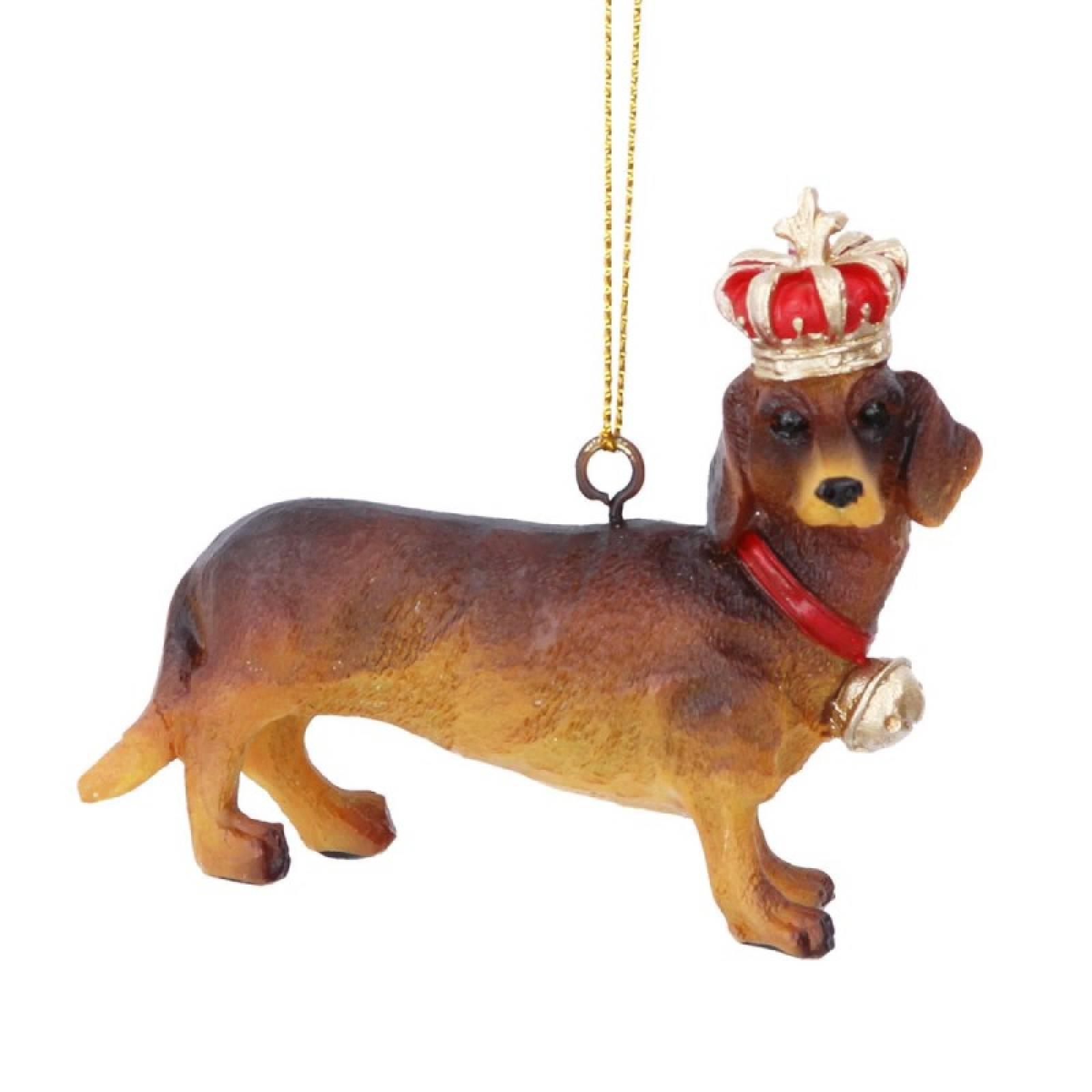 Dachshund Dog With Crown Resin Christmas Decoration