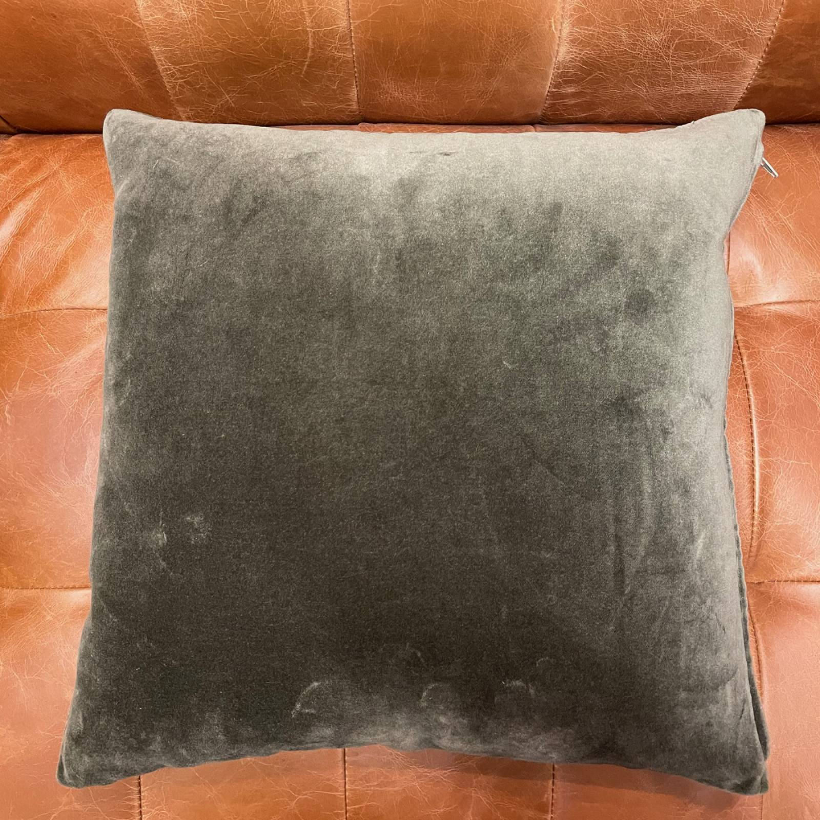 Dark Green Velvet Bee Cushion With Bee Embroidery thumbnails