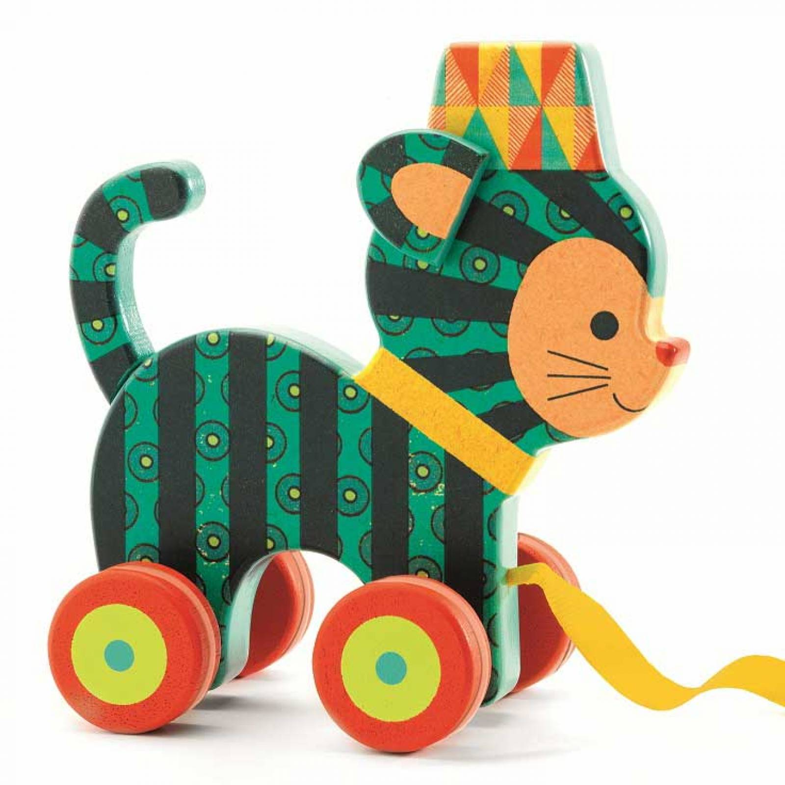 Decorative Pull Along Cat NEKO Wooden Toy 18mth+