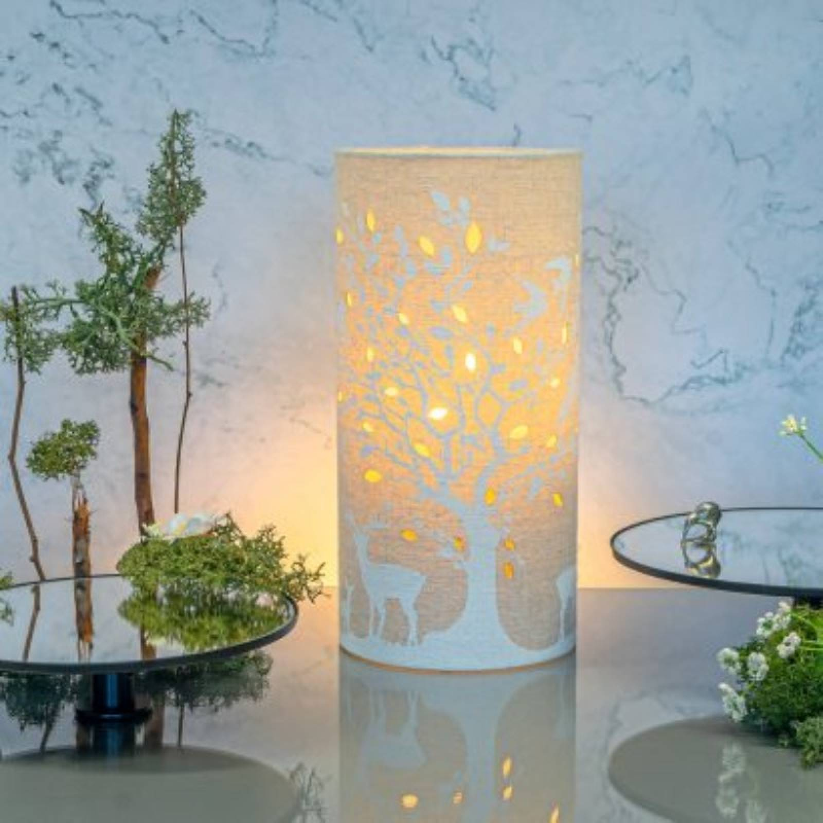 Deer & Birds - Cylindrical Fabric Lamp thumbnails