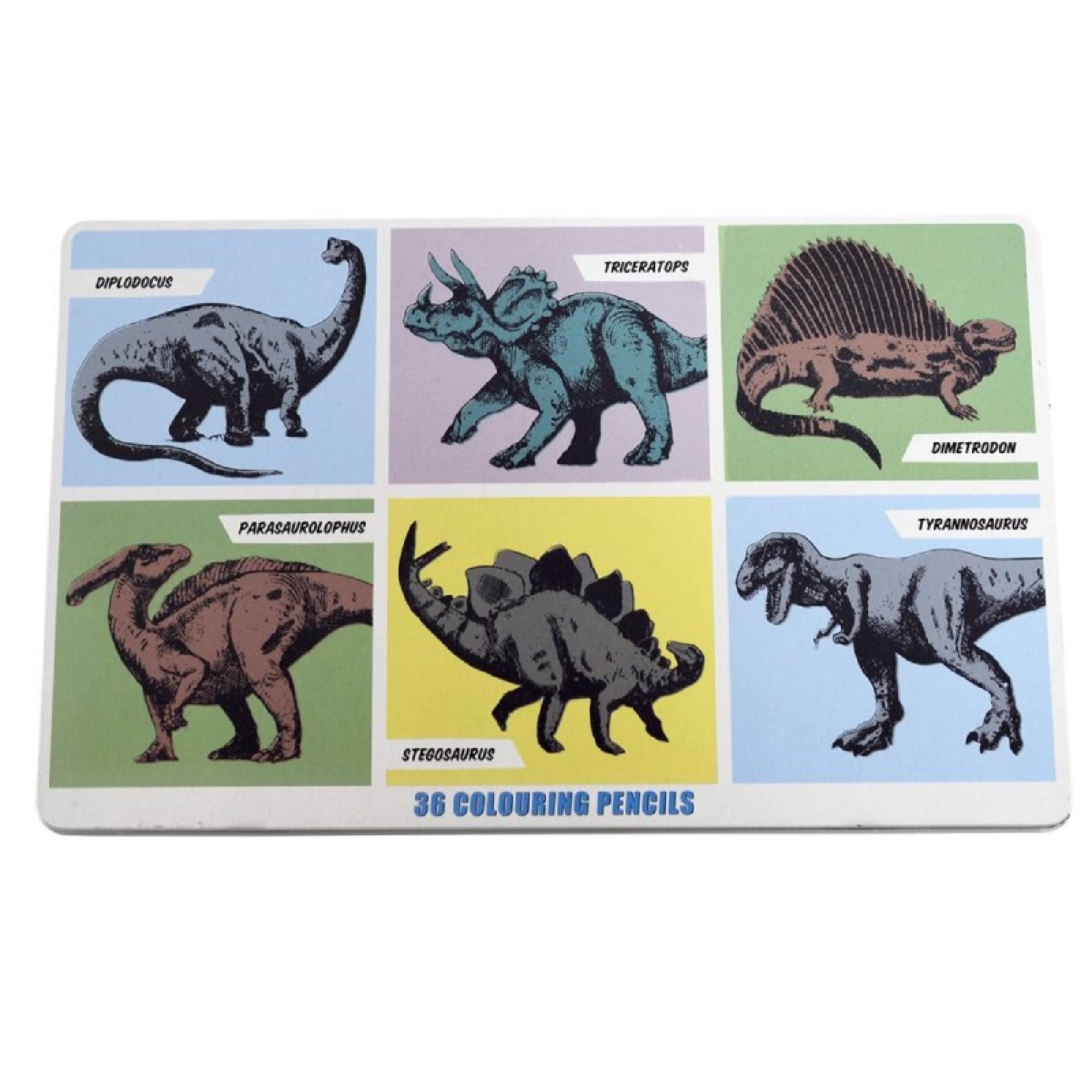 Dinosaurs - 36 Colouring Pencils In A Tin thumbnails