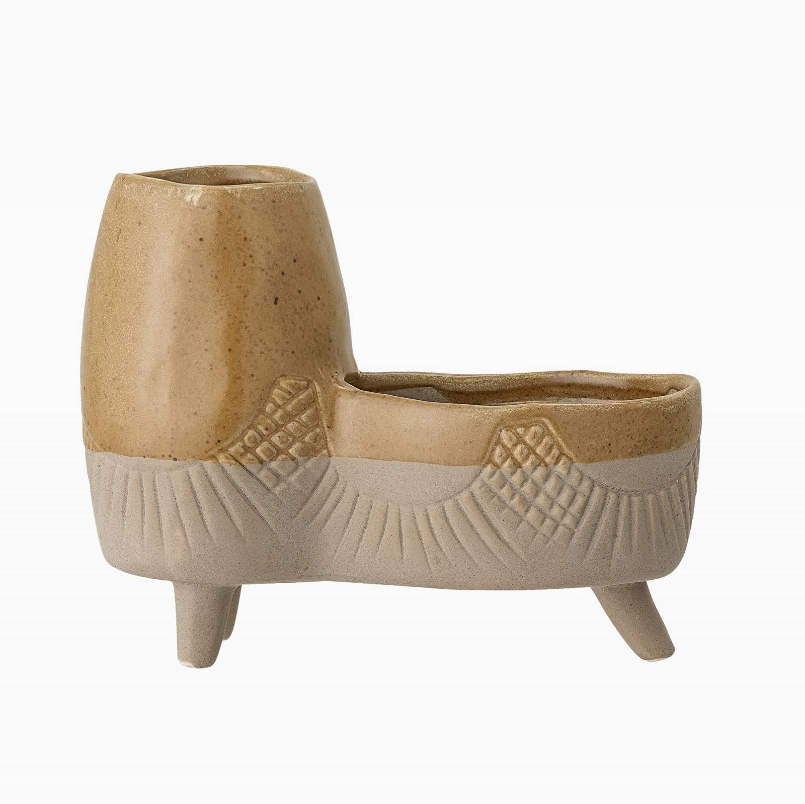 Double Two Tone Stoneware Yellow Flower Pot On Legs