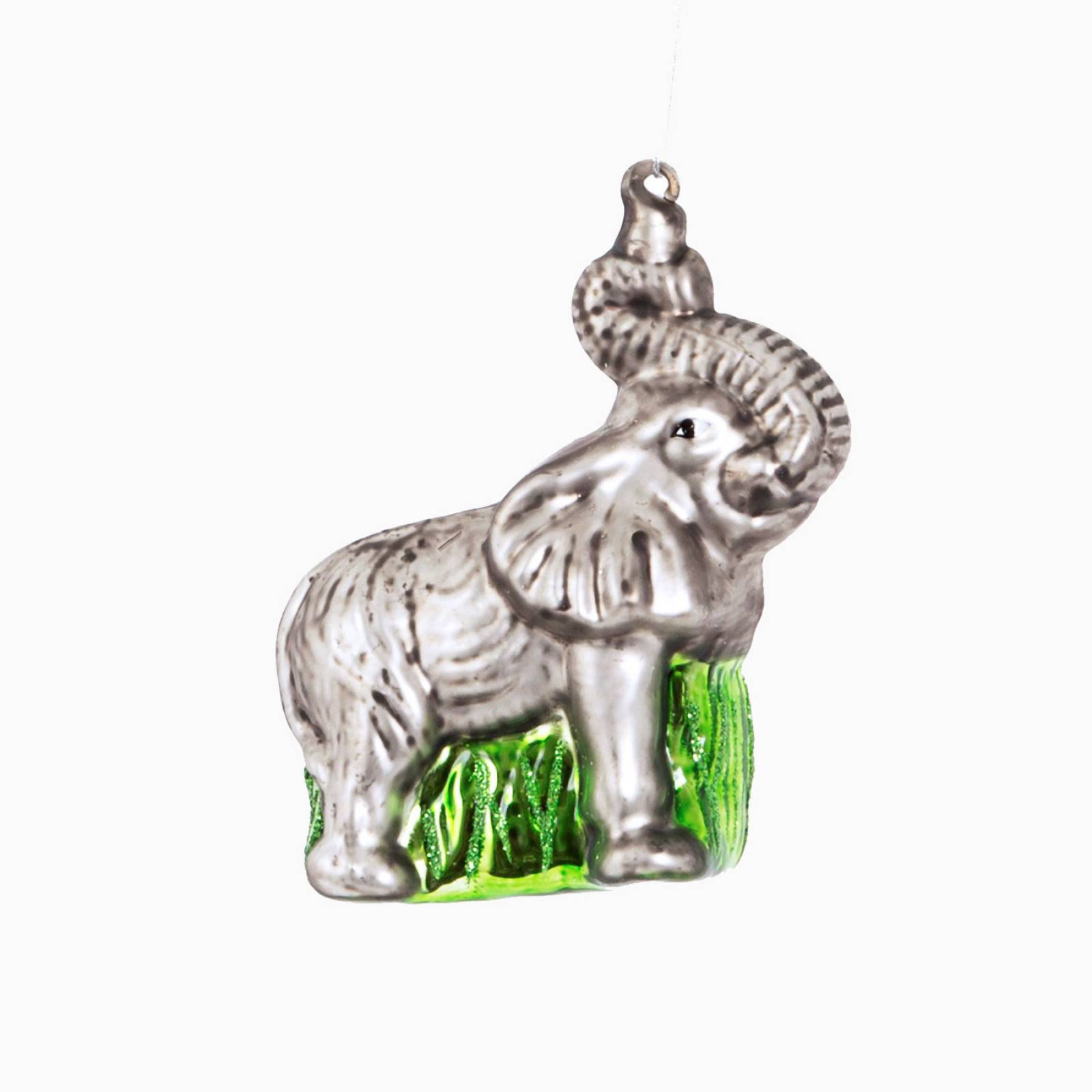 Elephant Glass Christmas Decoration