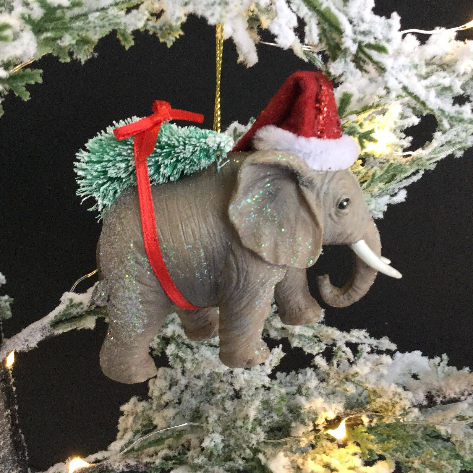 Elephant WIth Santa Hat Christmas Decoration By Gisela Graham