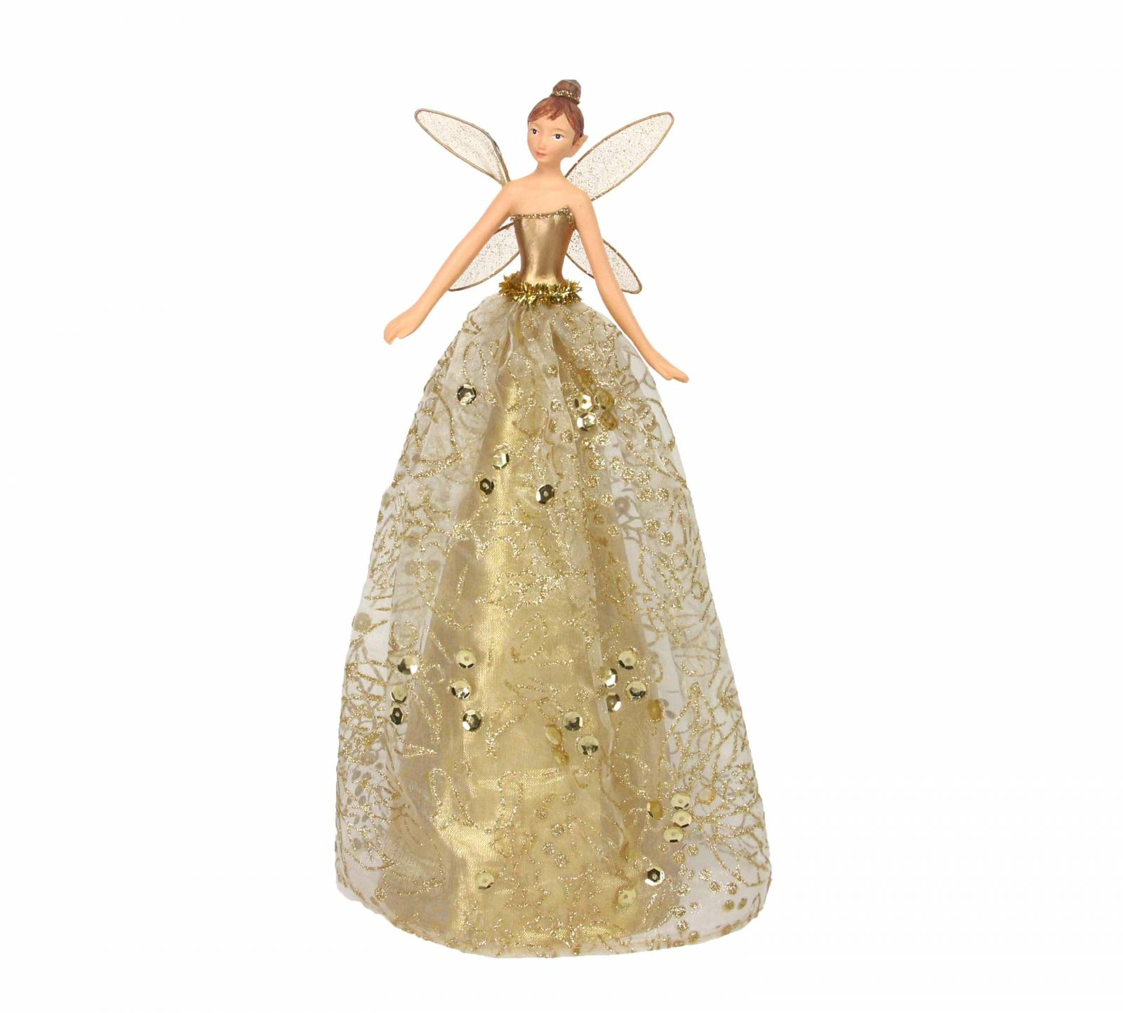 Gisela Graham Christmas Tree Topper: Large Gold Fairy Christmas Tree Topper By Gisela Graham