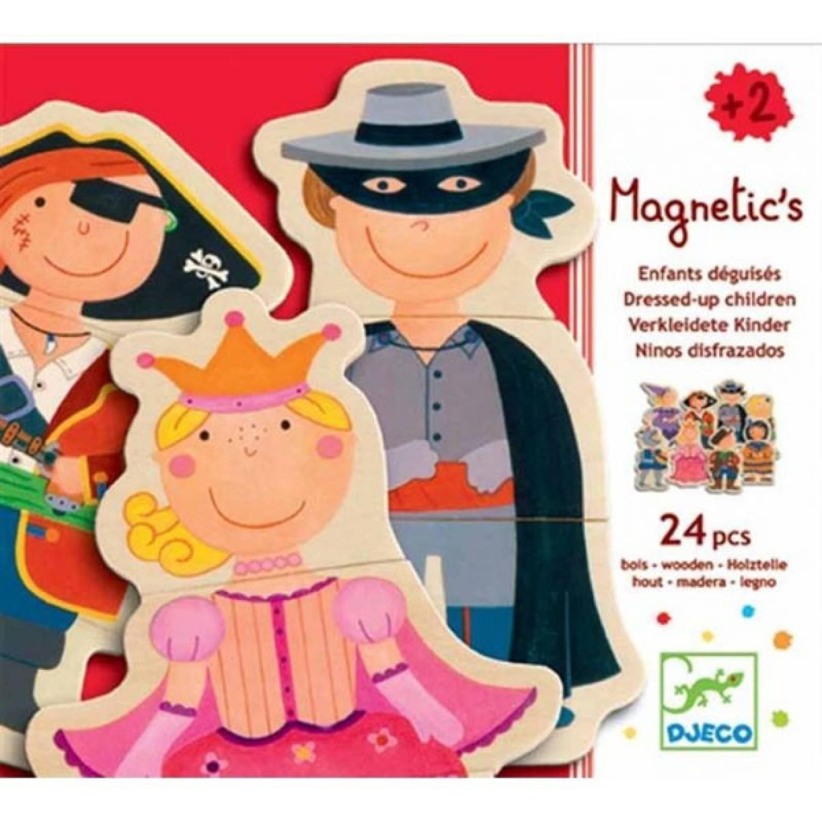 Fancy Children 24 Piece Magnetic Puzzle Figures In Box Djeco 2+