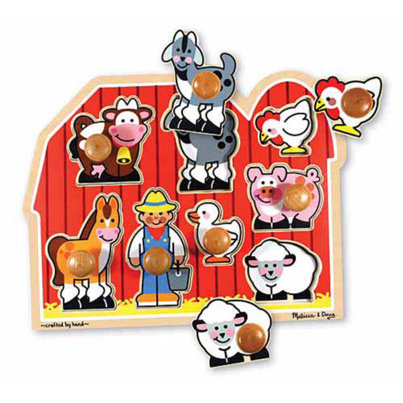 Farm Friends - Large Peg Puzzle By Melissa & Doug