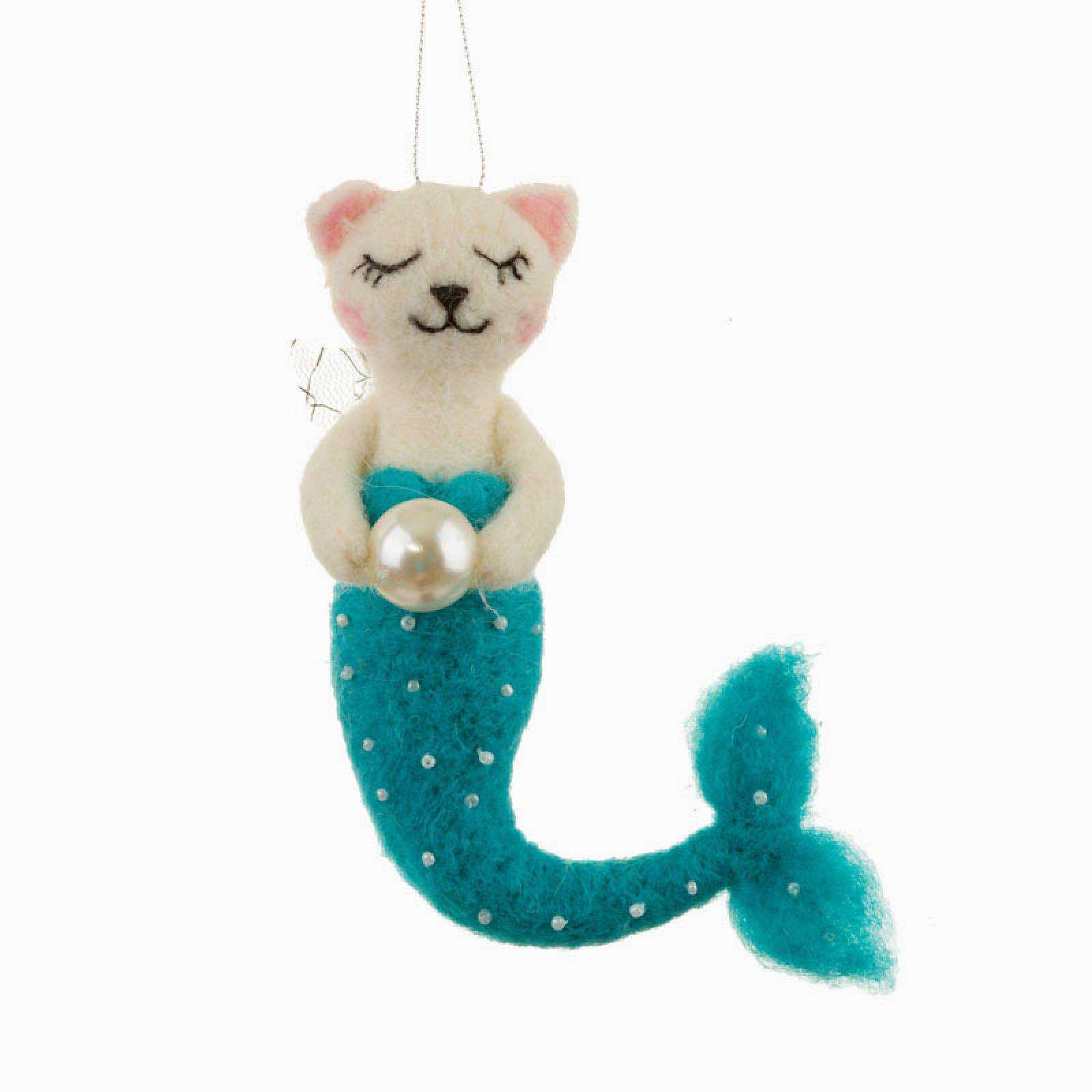 Felt Cat Purrmaid With Pearl Christmas Decoration