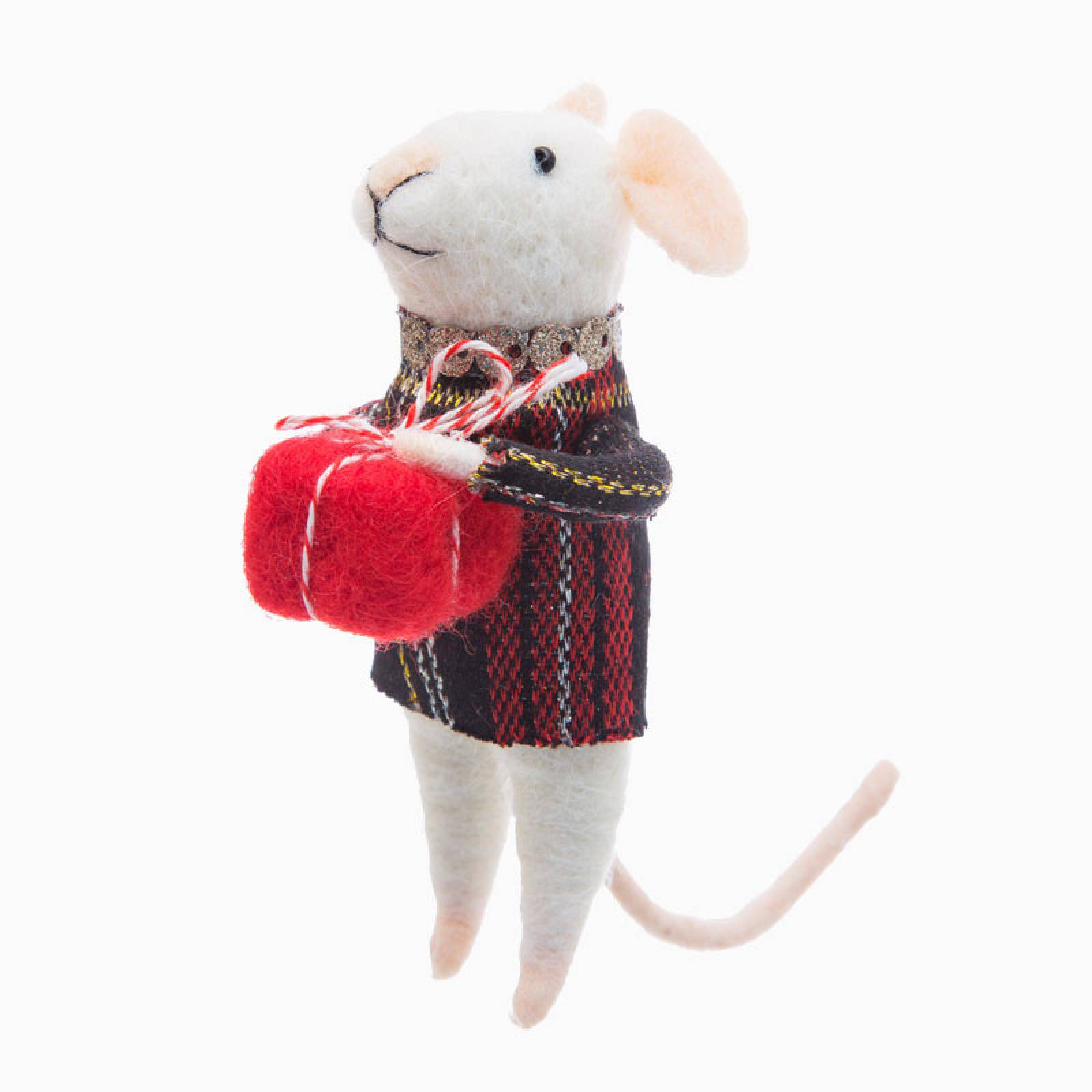 Felt Tartan Mouse With Gift Christmas Decoration