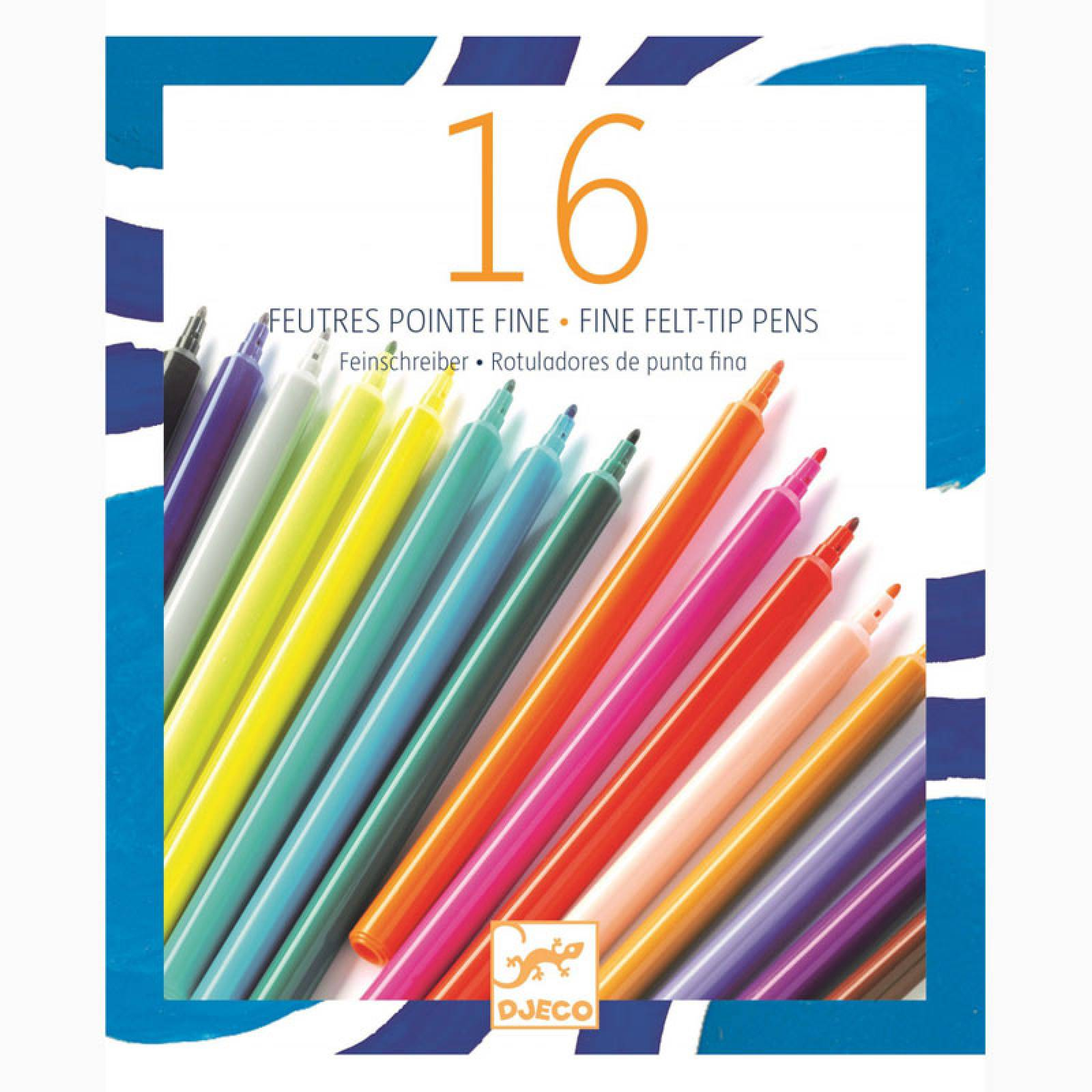 Pack Of 16 Fine Felt Tip Pens By Djeco