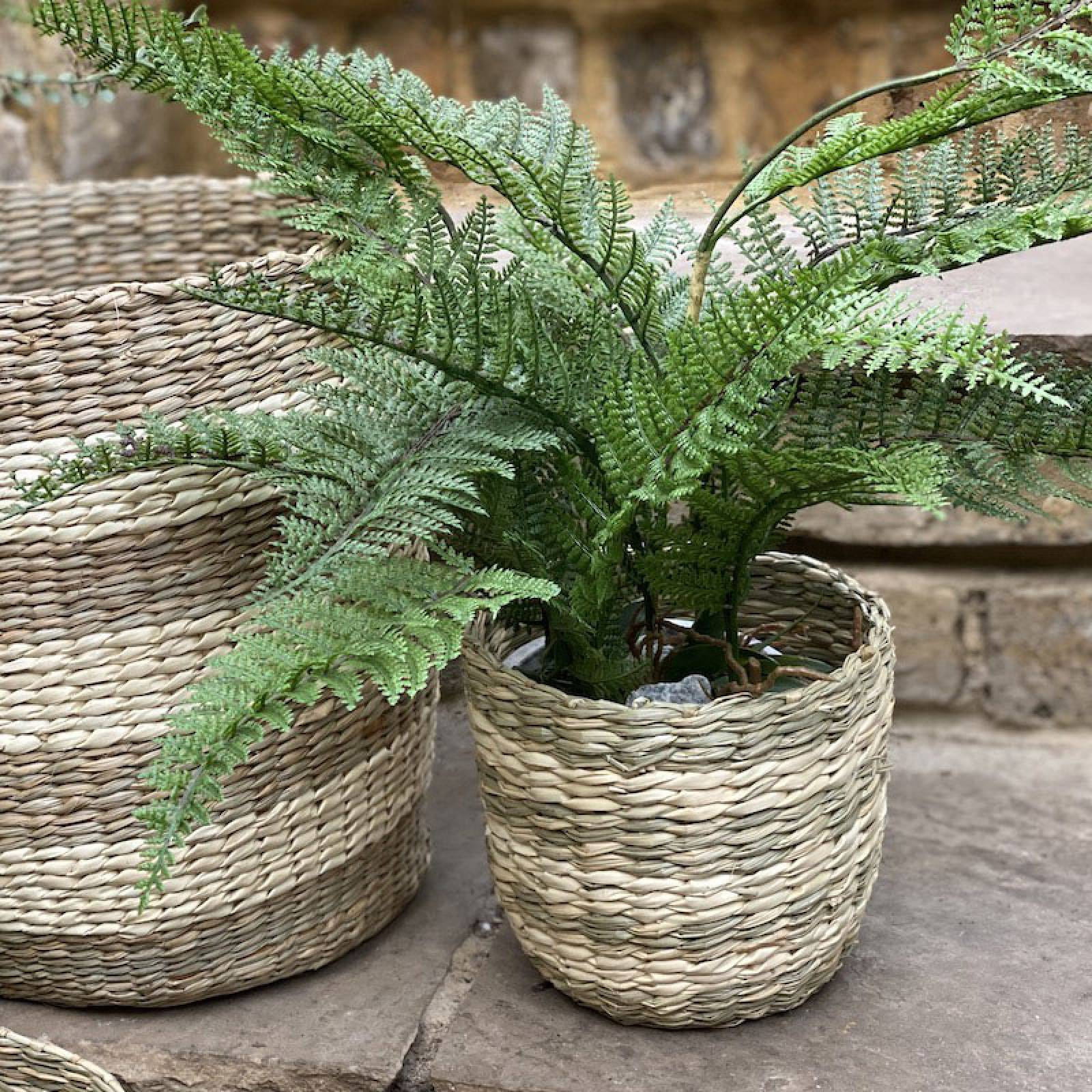 Small Striped Two Tone Striped Basket H:16cm