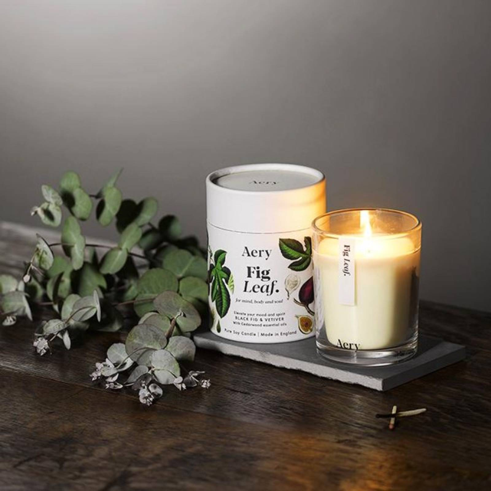 Fig Leaf Boxed Candle By Aery thumbnails