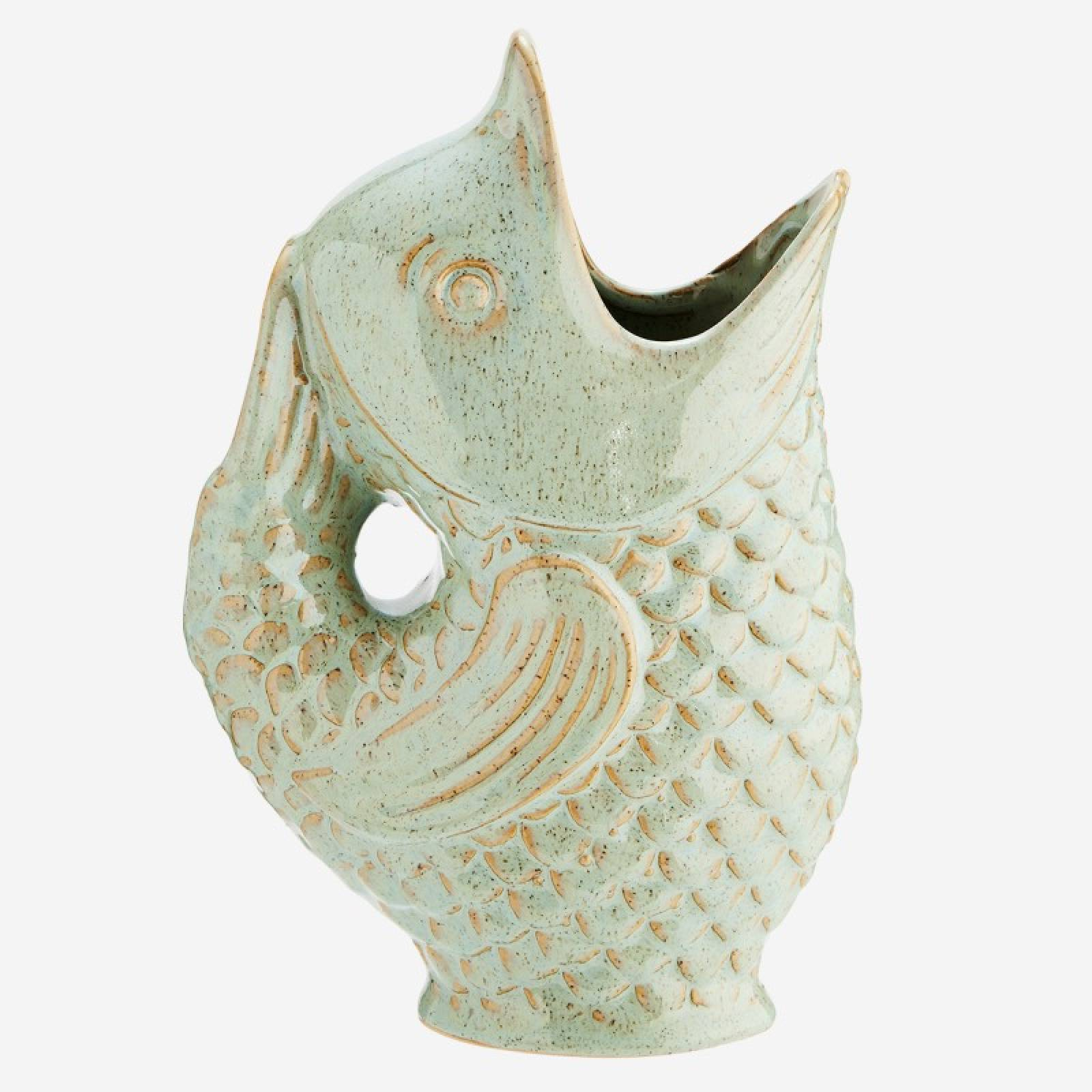 Fish Jug Vase in Sage Green Stoneware thumbnails