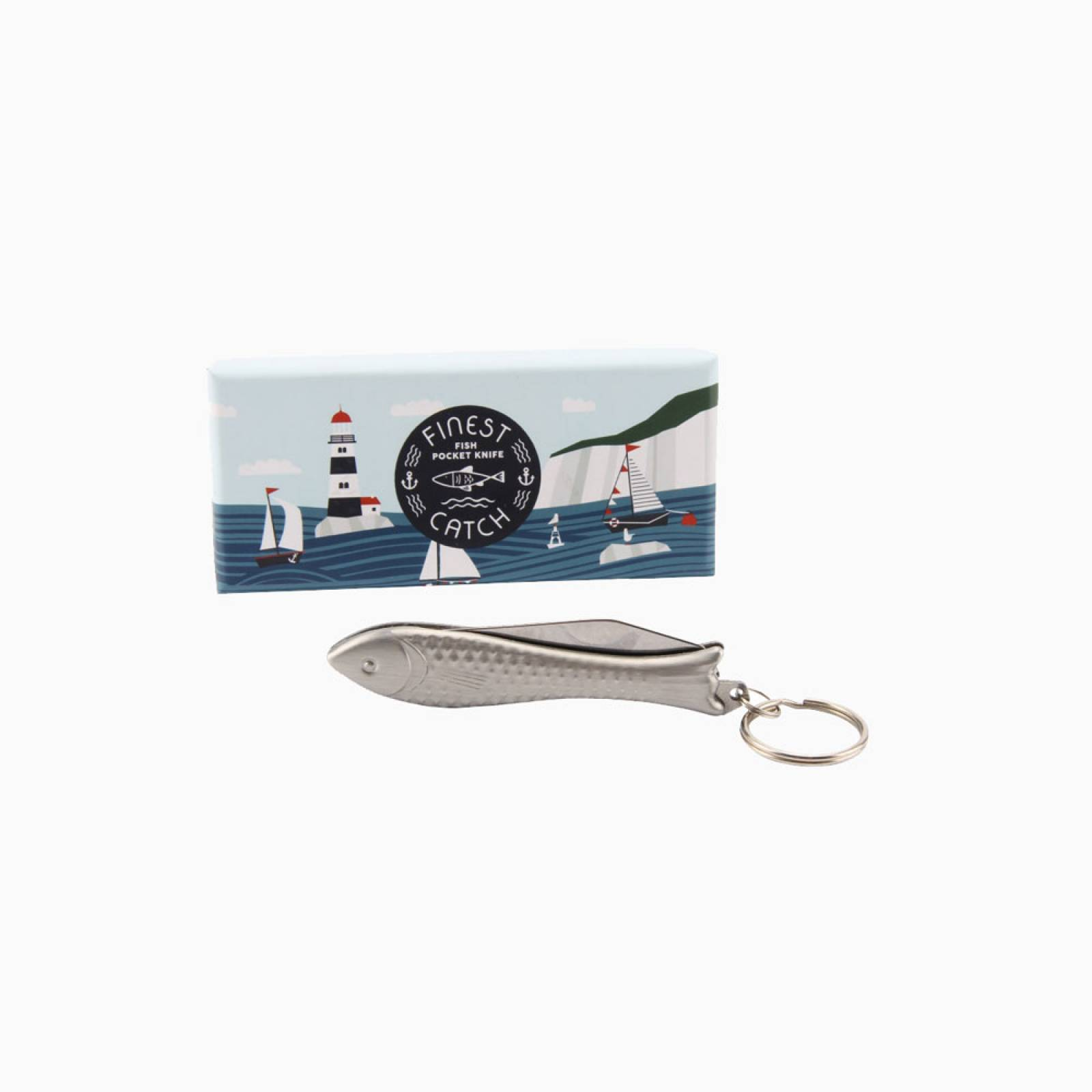 Fish Shaped Pocket Knife And Keyring