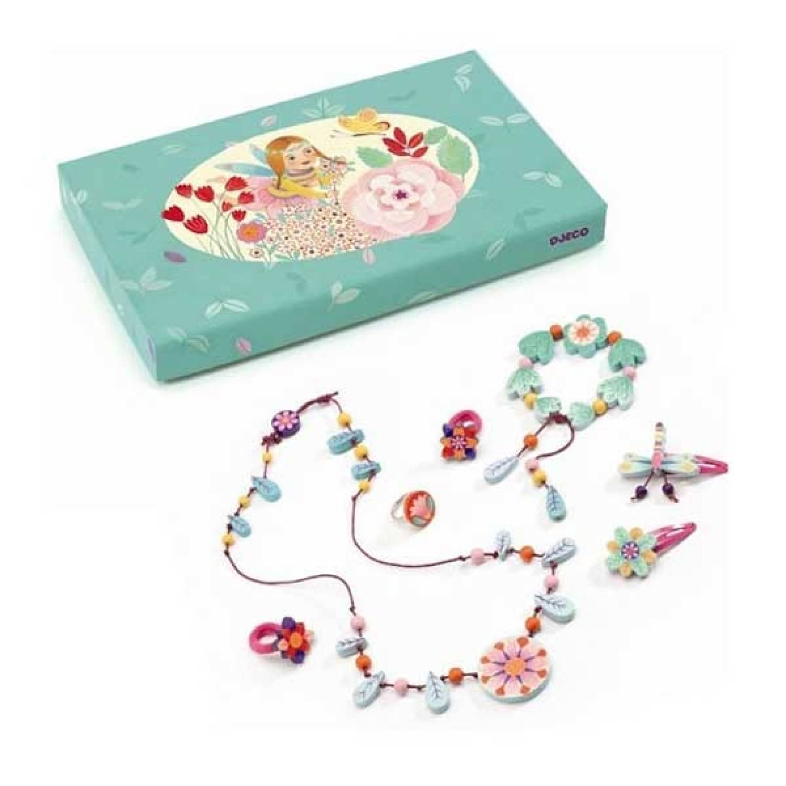 Turquoise Wood Flower Jewellery Set In Pretty Box By Djeco 4yr+
