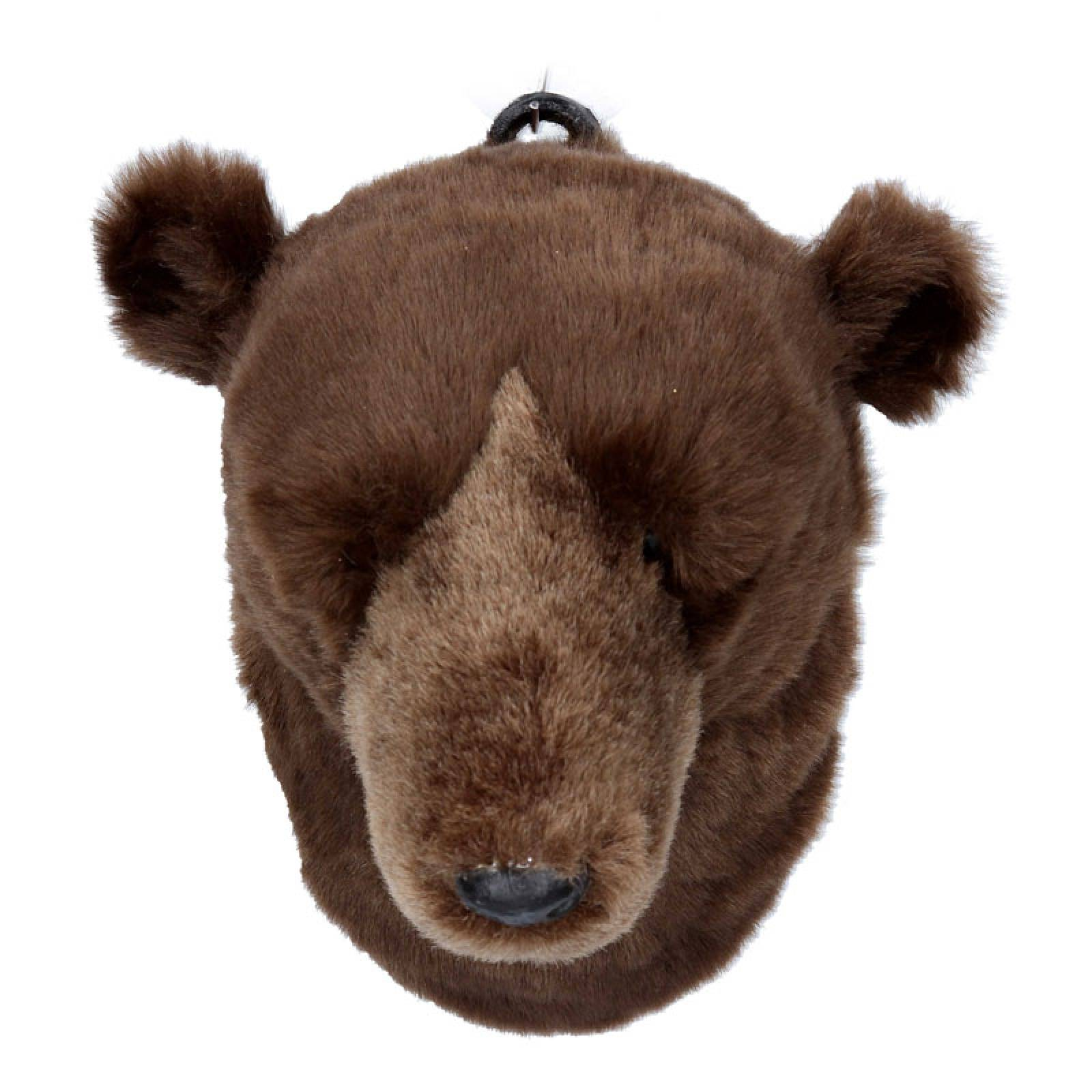 Furry Brown Bear Head Wall Decoration