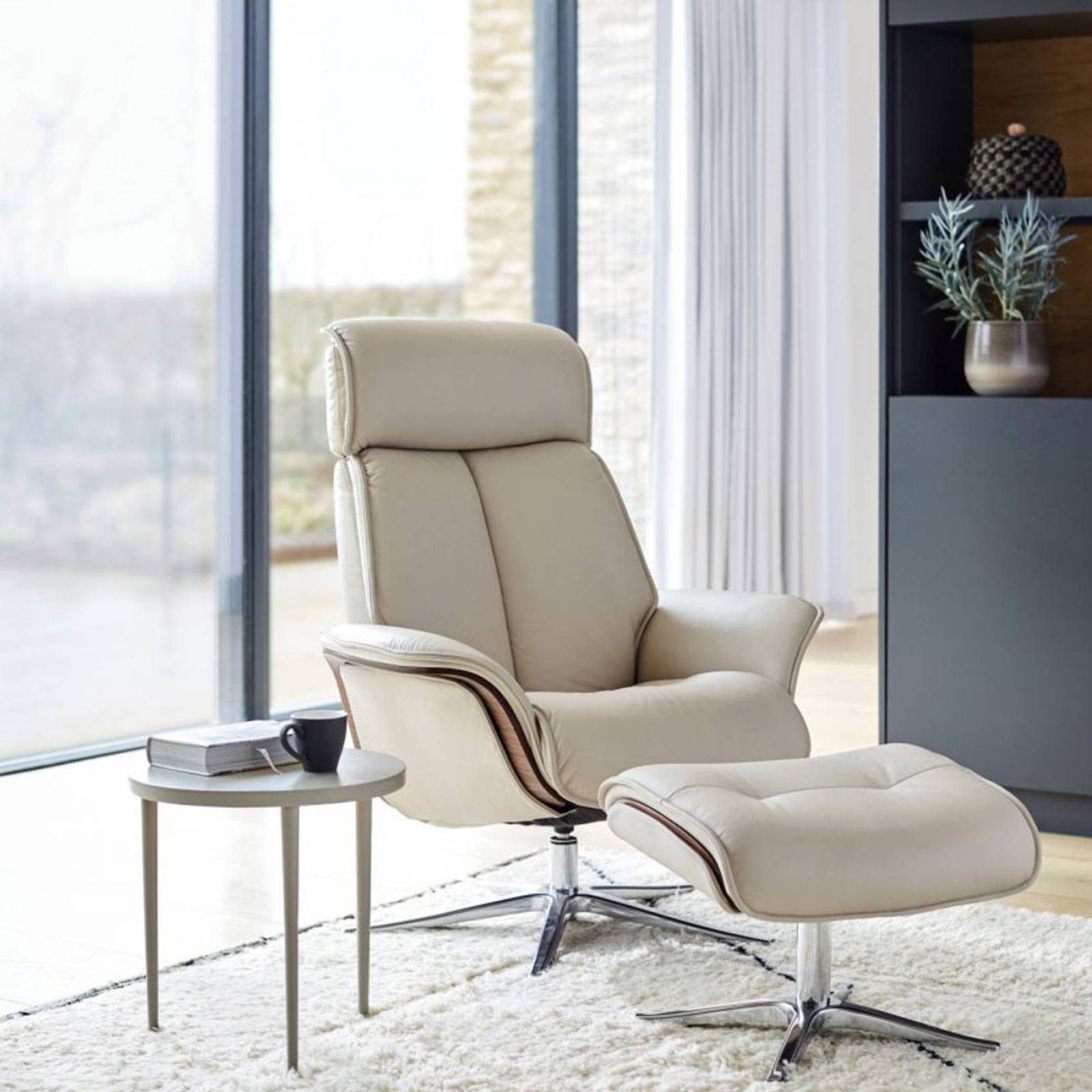 G Plan - The Lund - Recliner Armchair & Footstool - Leather Side thumbnails