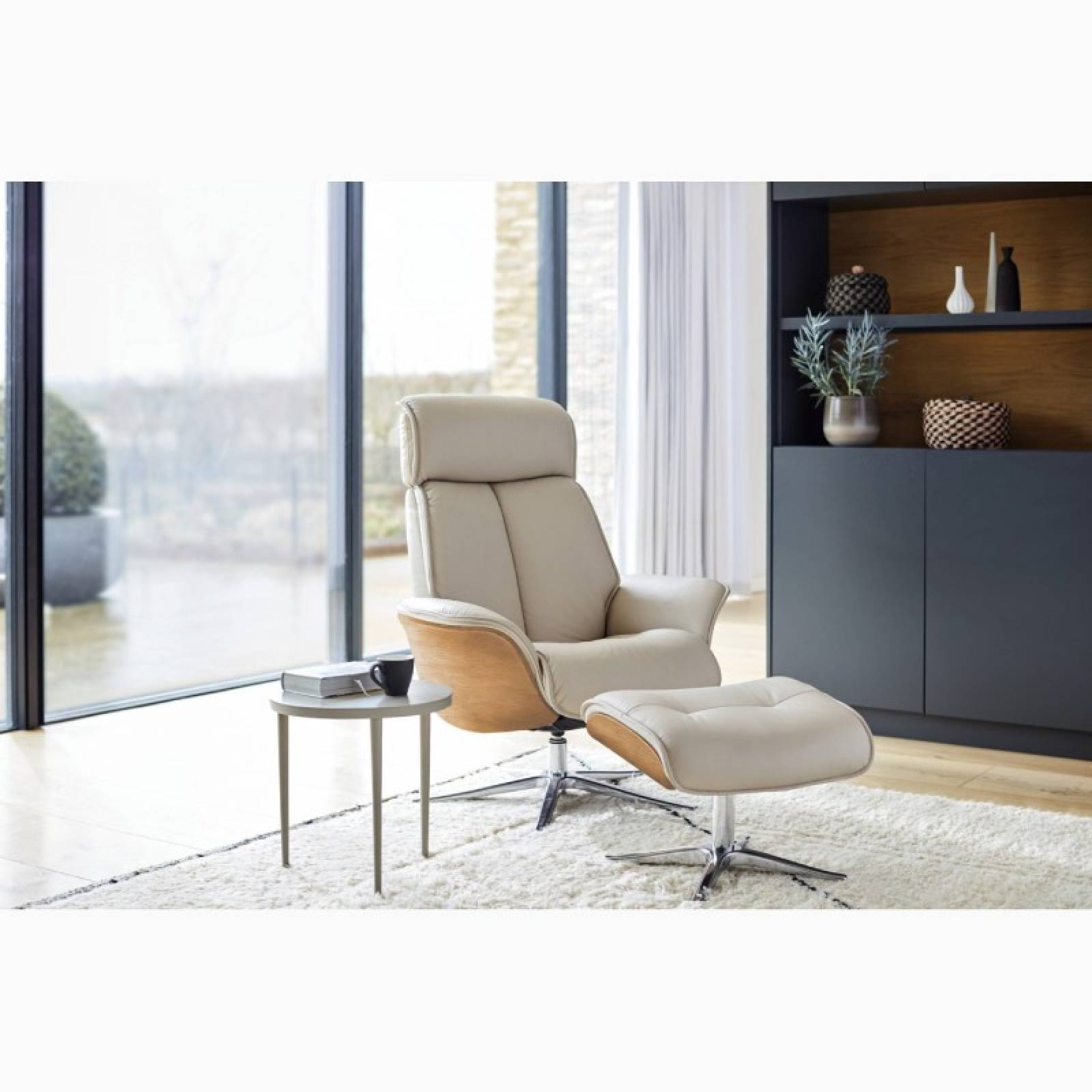 G Plan - The Lund - Recliner Armchair & Footstool - Wood Side thumbnails