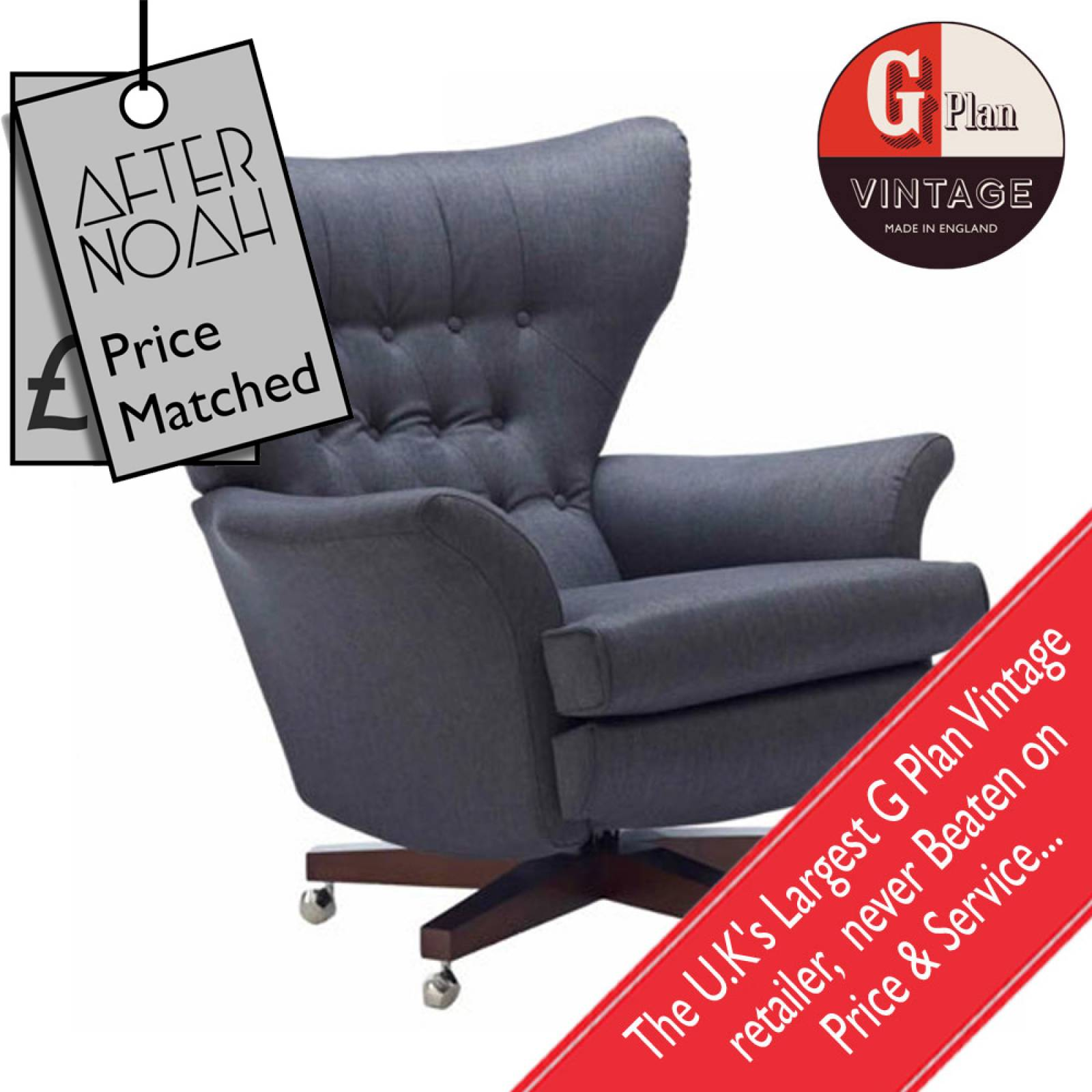 G Plan Vintage The Sixty Two Fabric Swivel Armchair thumbnails