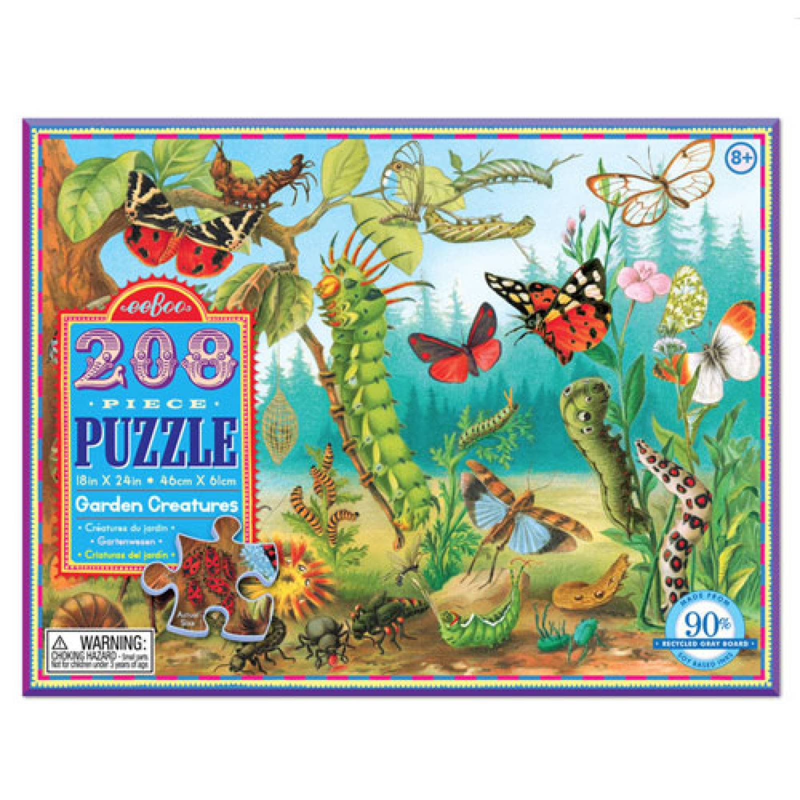 Garden Creatures Jigsaw Puzzle 208 pc by Eeboo 8yr+