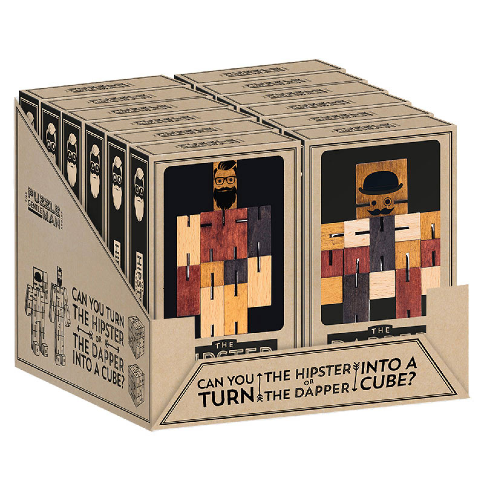 Gentleman Hipster / Dapper Wooden Cube Puzzle