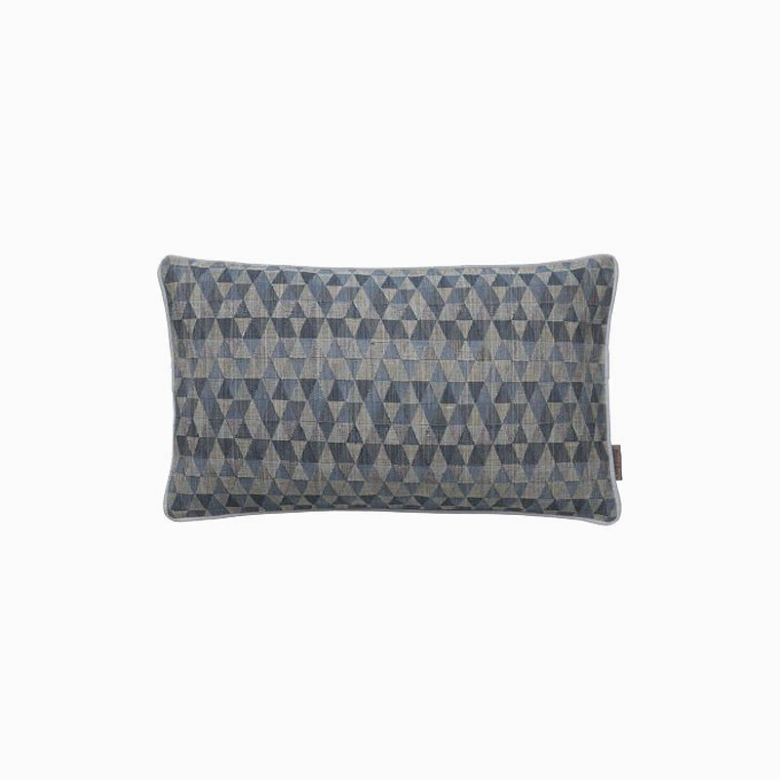 Rectangular Geometric Cushion In Dusty Blue