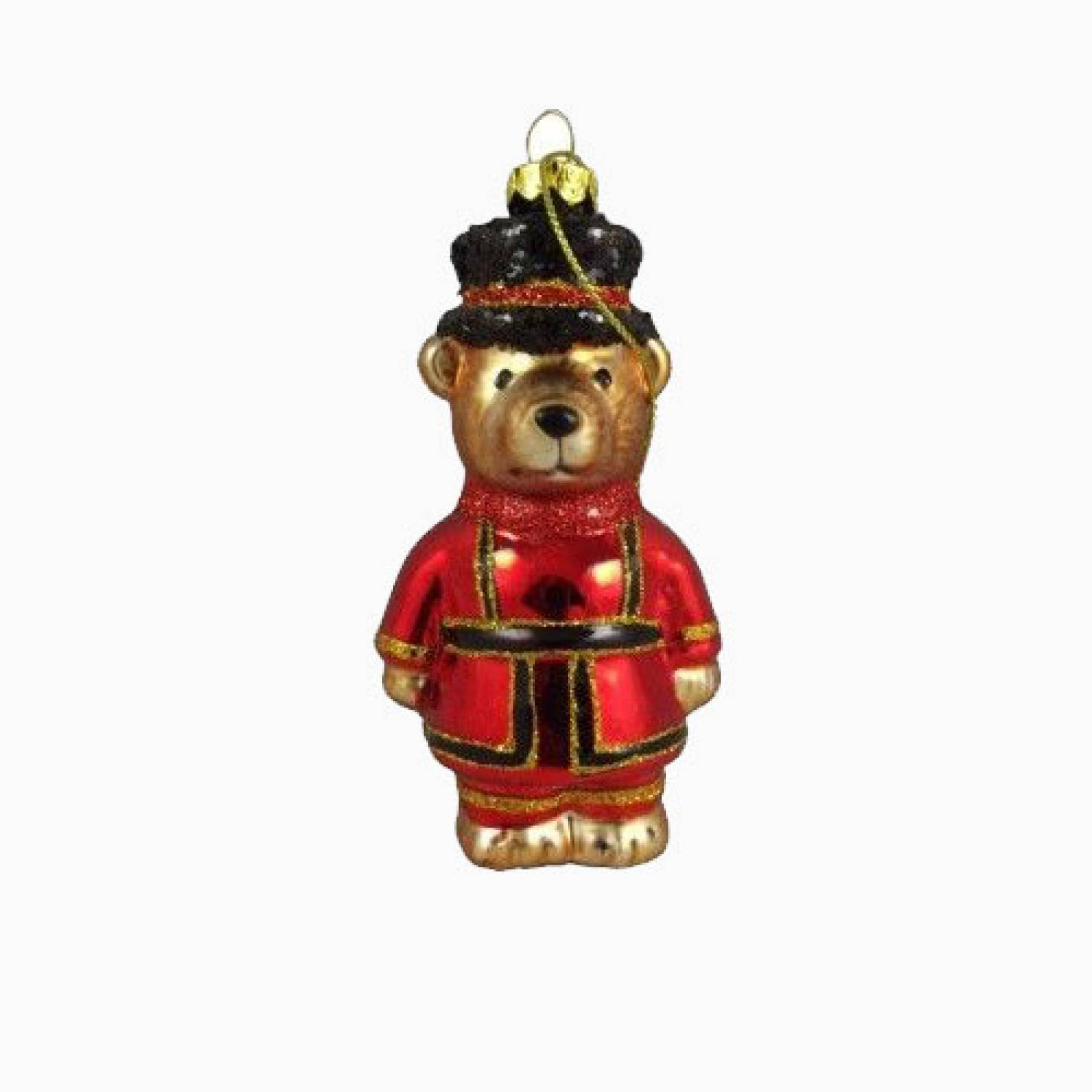 Glass Beefeater Teddy Christmas Decoration By Gisela Graham