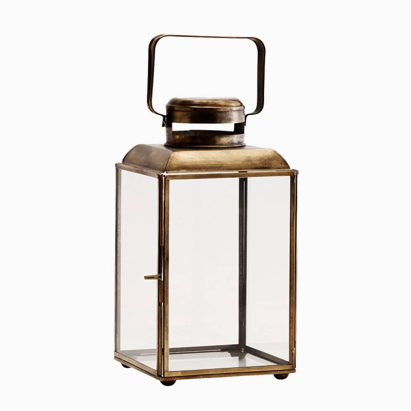 Glass Lantern In Antique Brass With Rectangular Handle H26cm