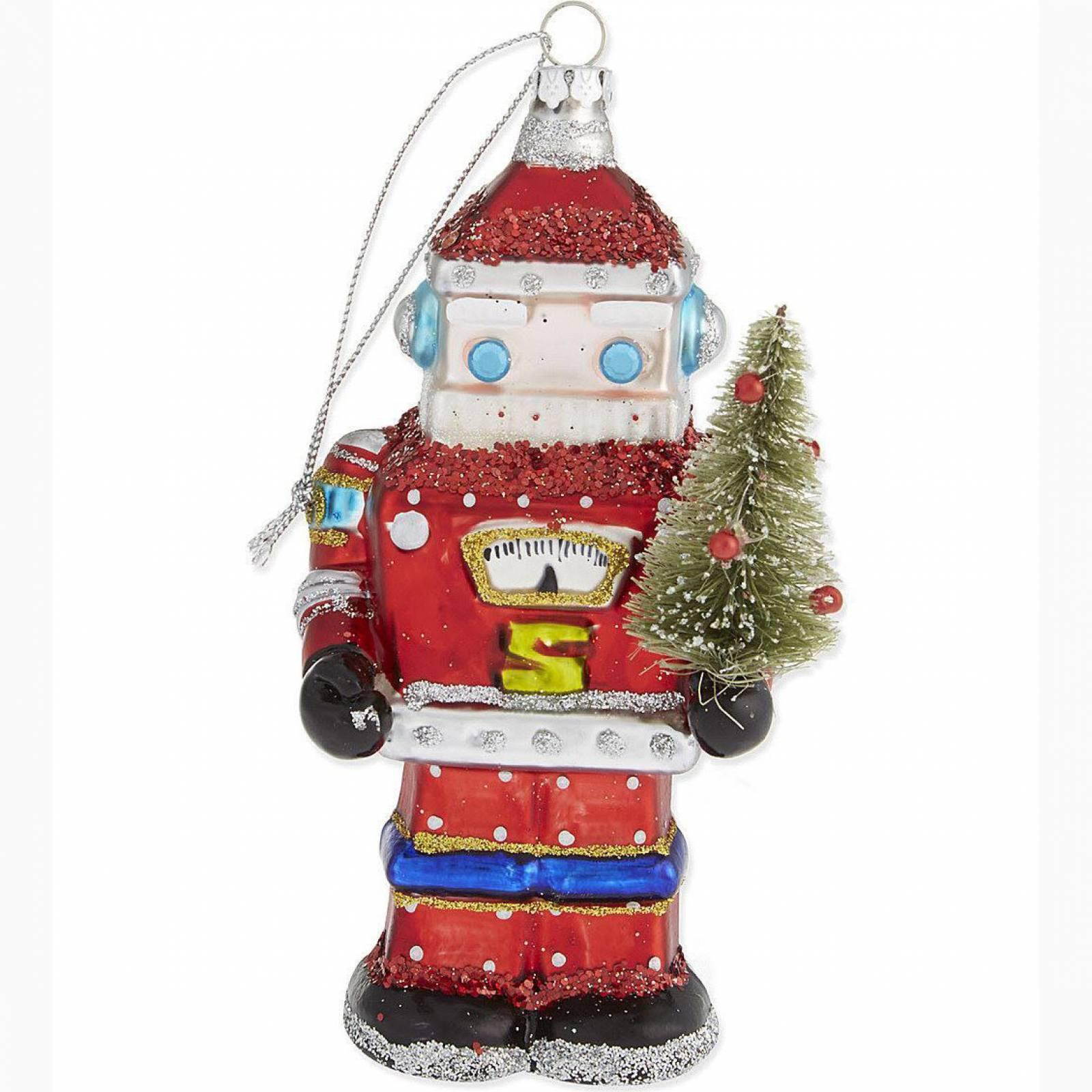 Glass Santa Robot Christmas Decoration By Gisela Graham