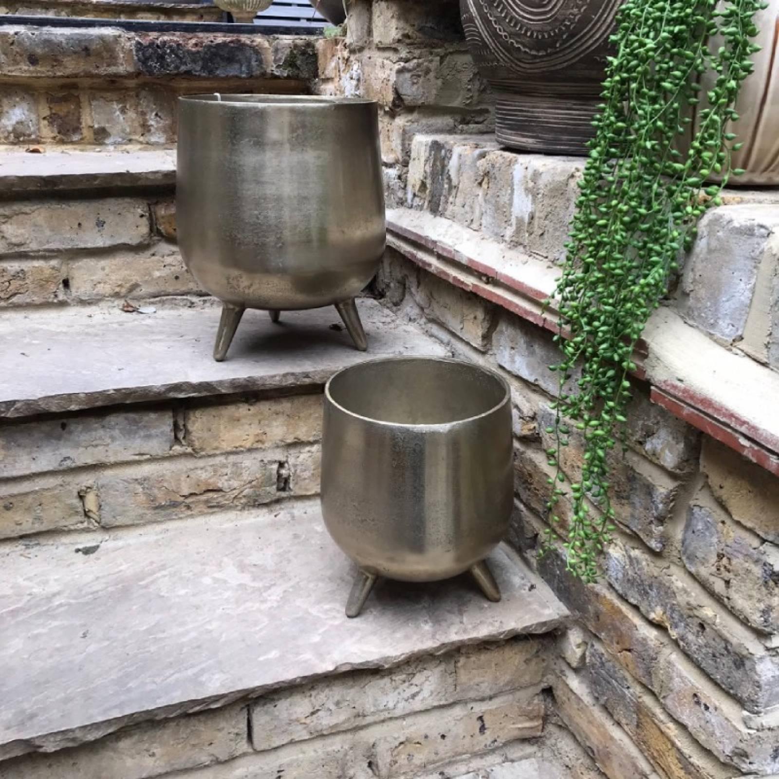 Small Gold Cauldron Planter On Legs thumbnails