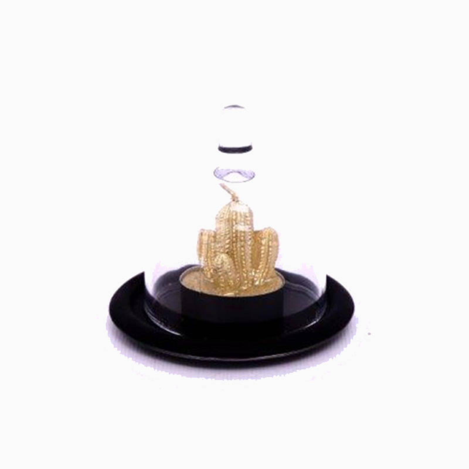 Small Glass Dome With Gold Cactus Tealight
