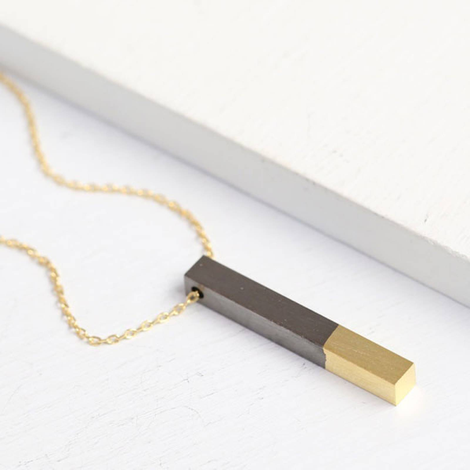 Gold Dipped Black Bar Necklace