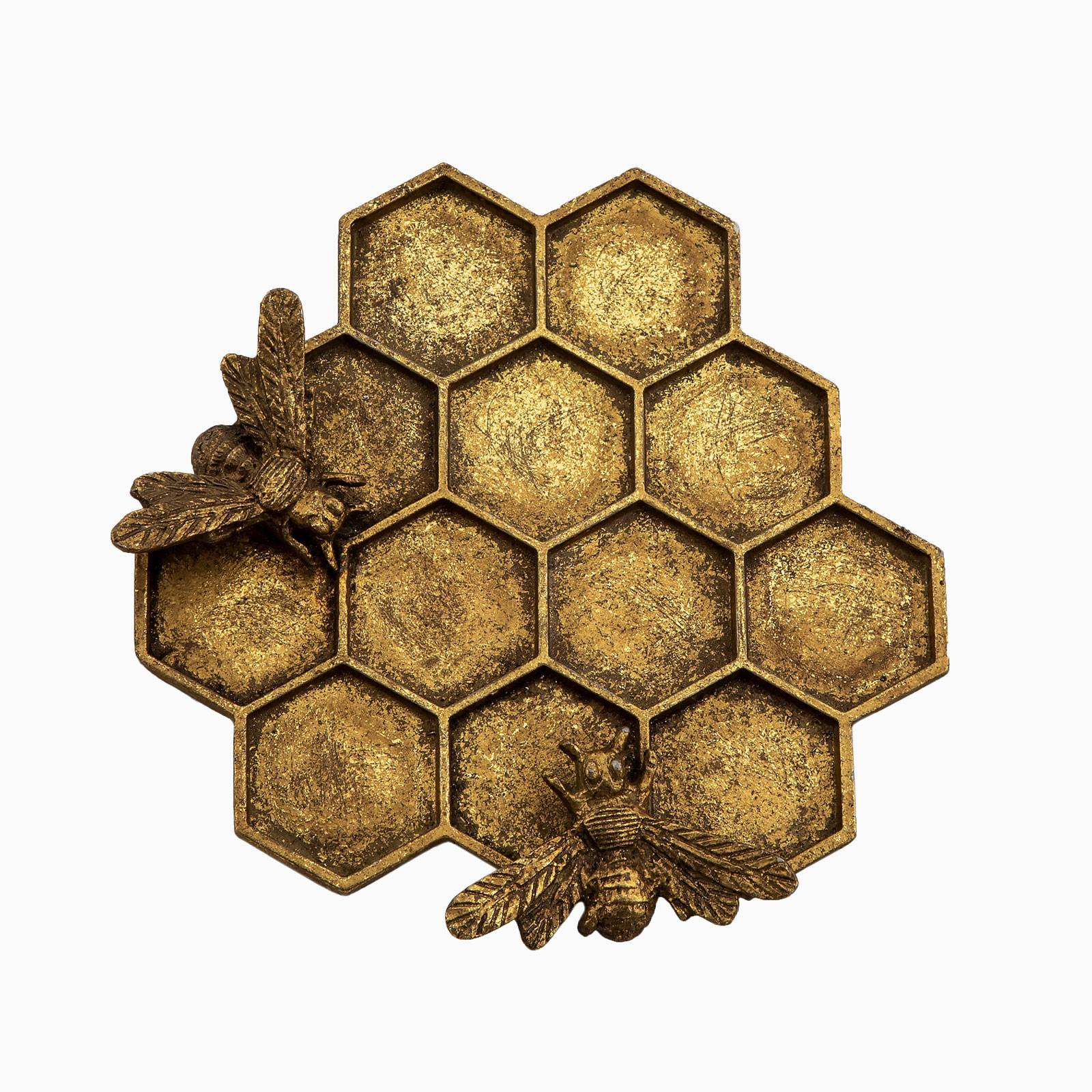 Gold Honeycomb Bee Jewellery Dish