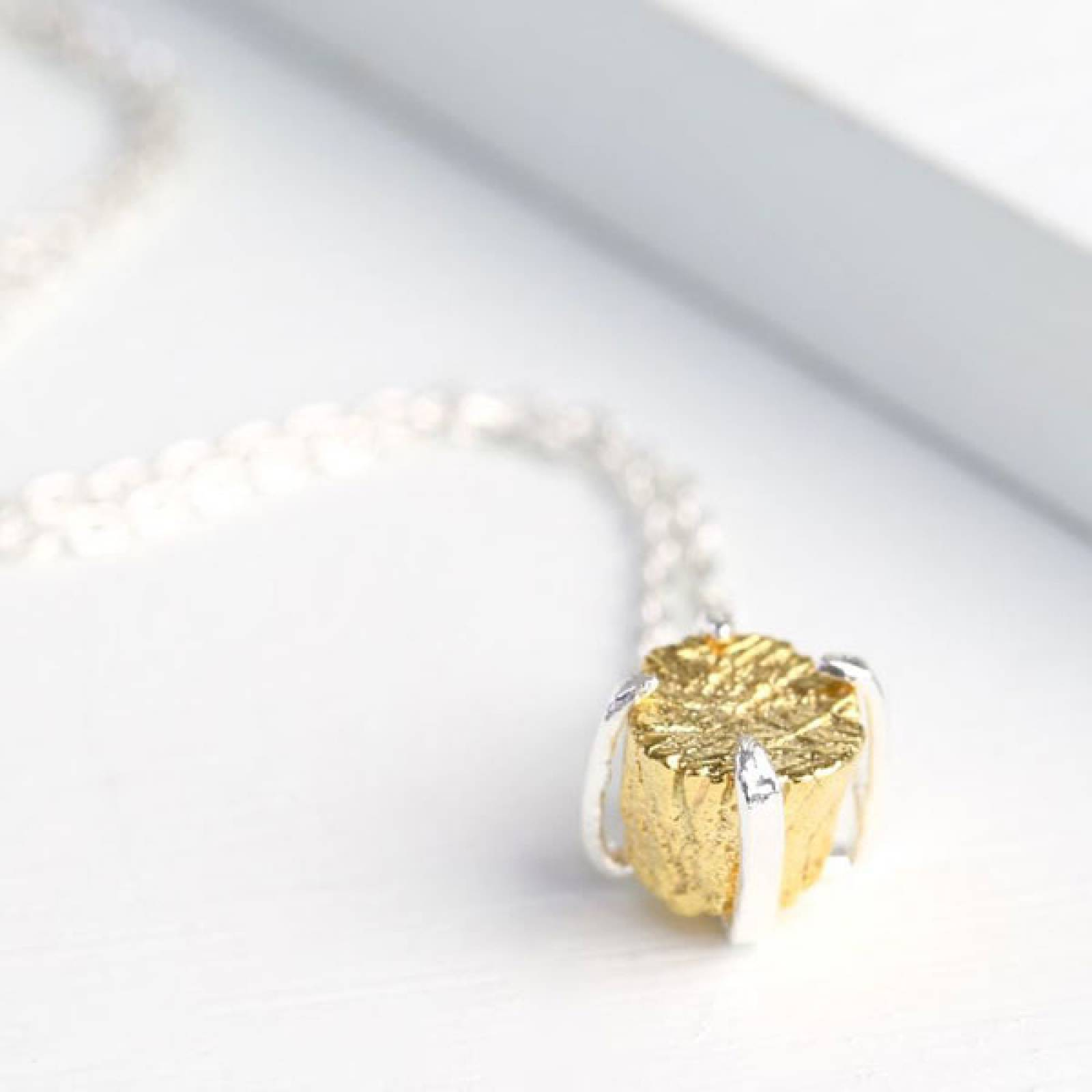 Gold Nugget Pendant Silver Necklace