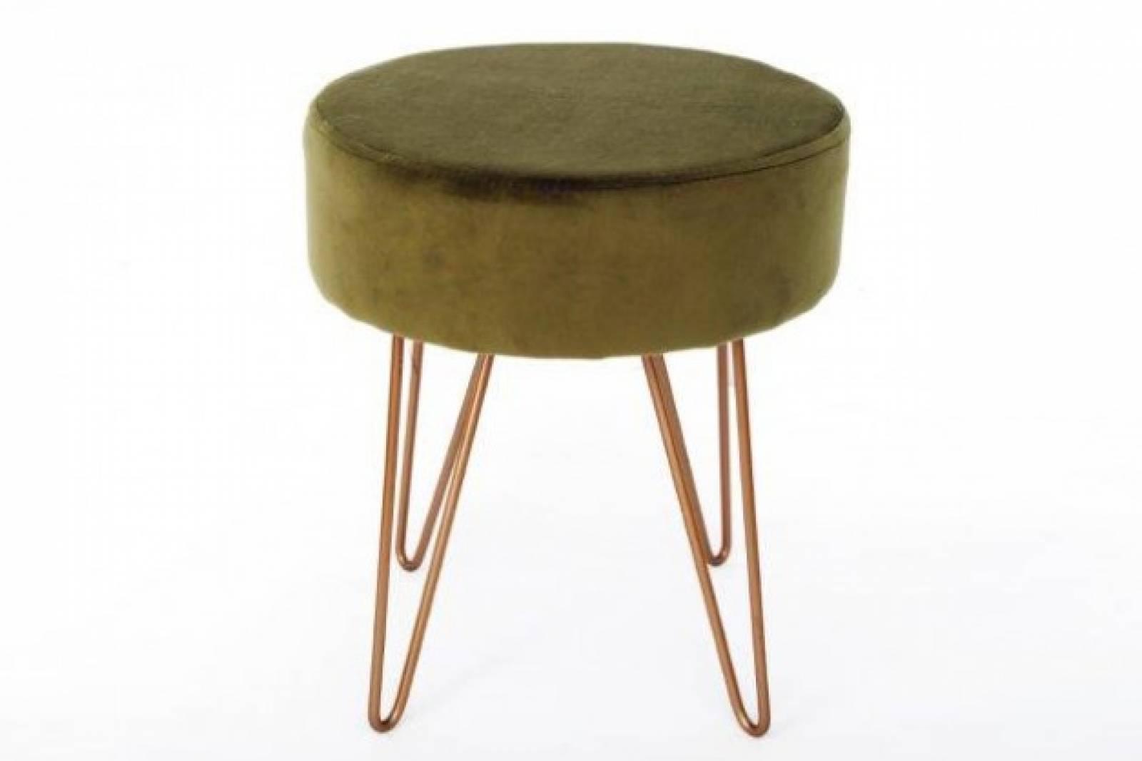 Green Velvet Circular Stool With Gold Hairpin Legs
