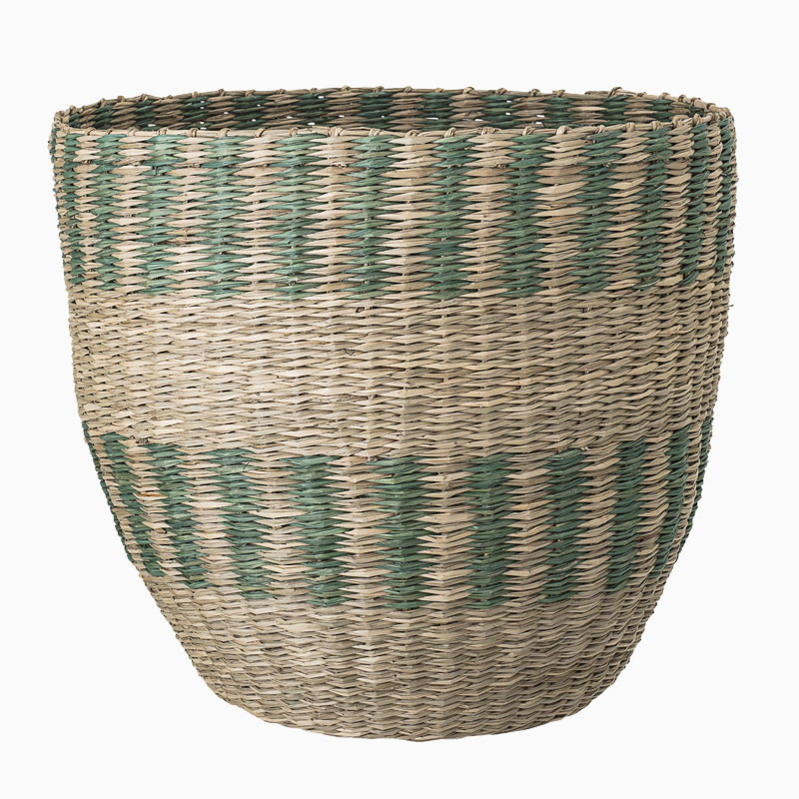 Green And Natural Striped Seagrass Basket