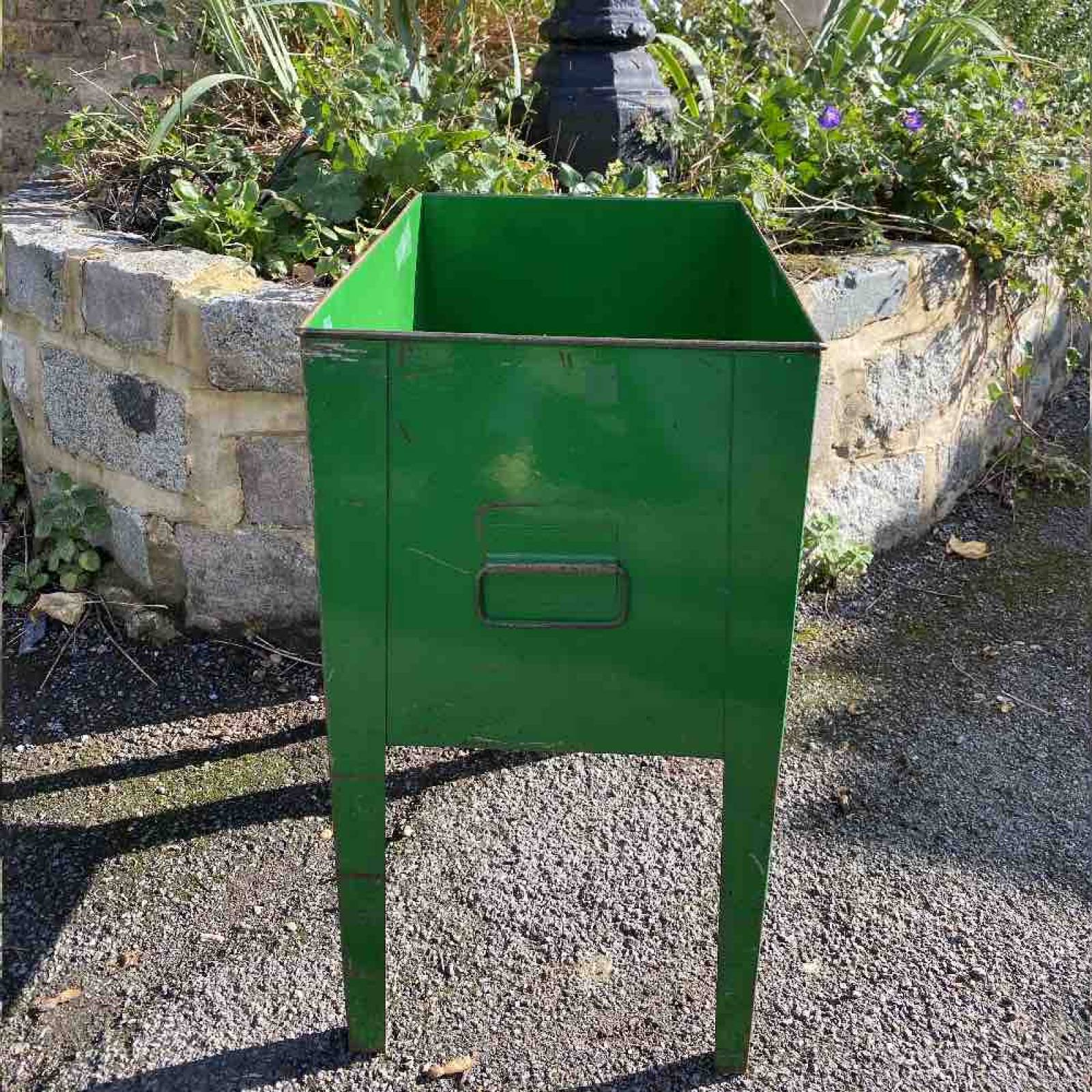 Green Rectangular Flower Bin 2 Handles & Legs thumbnails
