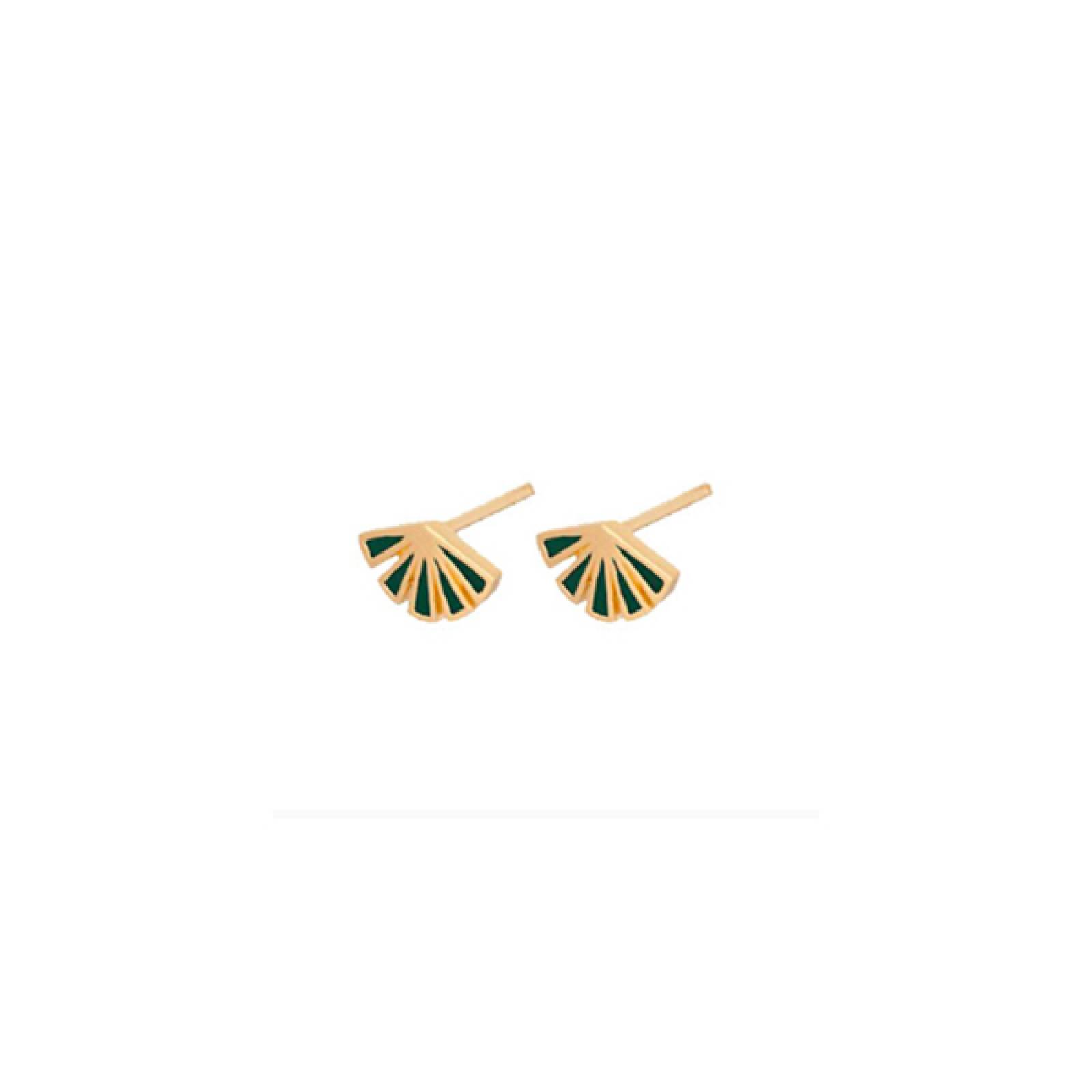 Green Flare Stud Earrings In Gold By Pernille Corydon thumbnails